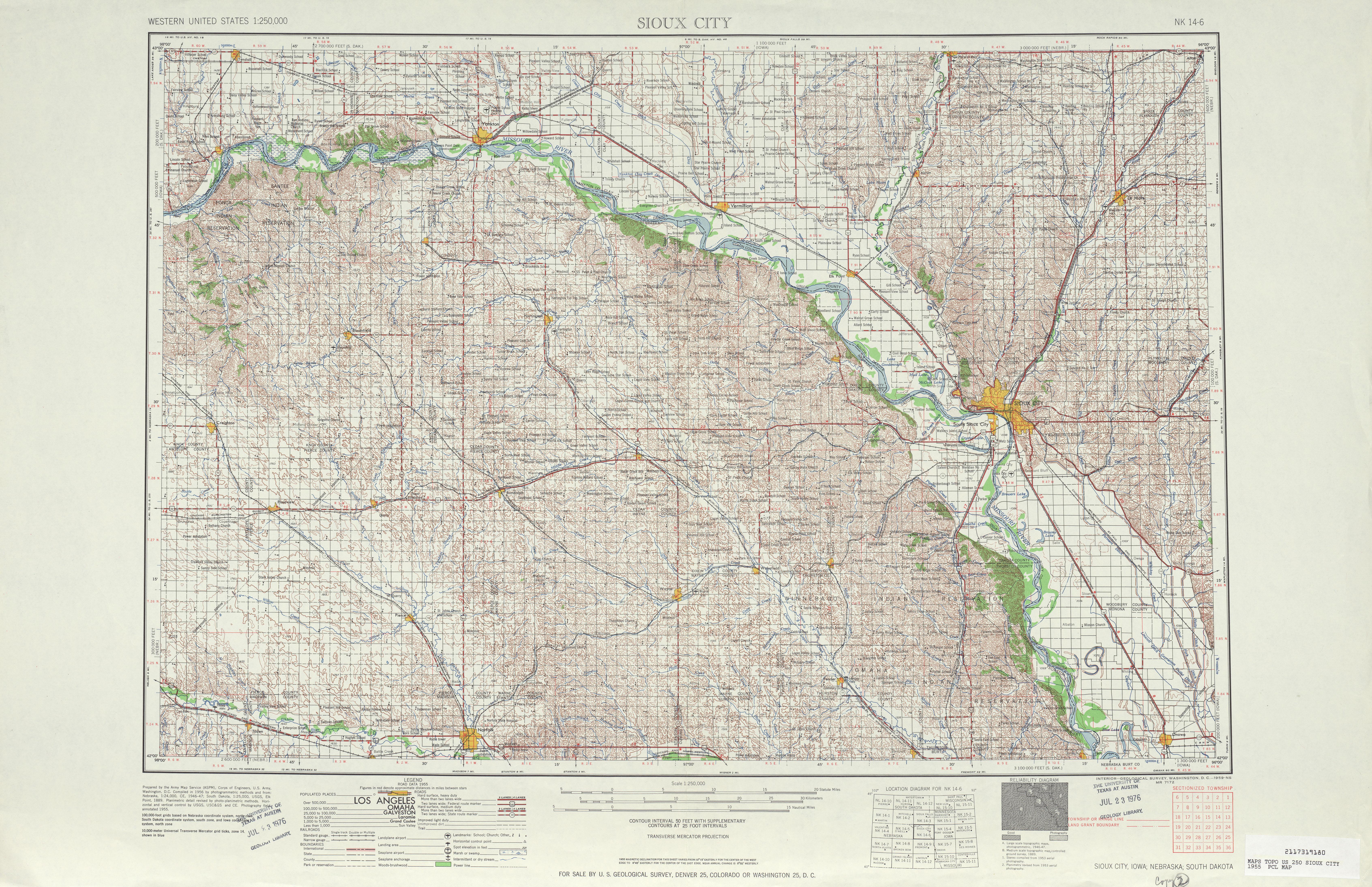 Hoja Sioux City del Mapa Topográfico de los Estados Unidos 1955
