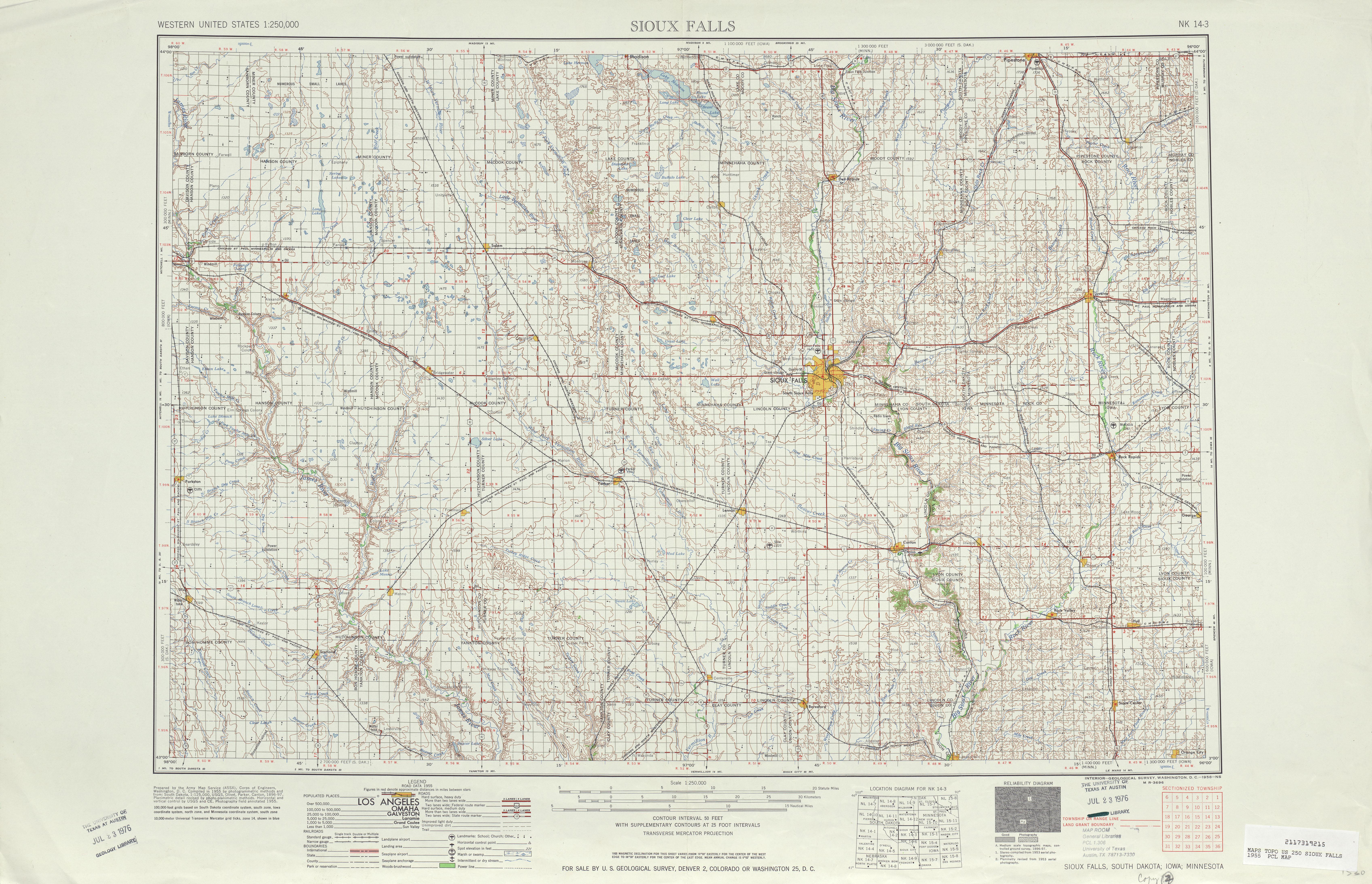 Hoja Sioux Falls del Mapa Topográfico de los Estados Unidos 1955