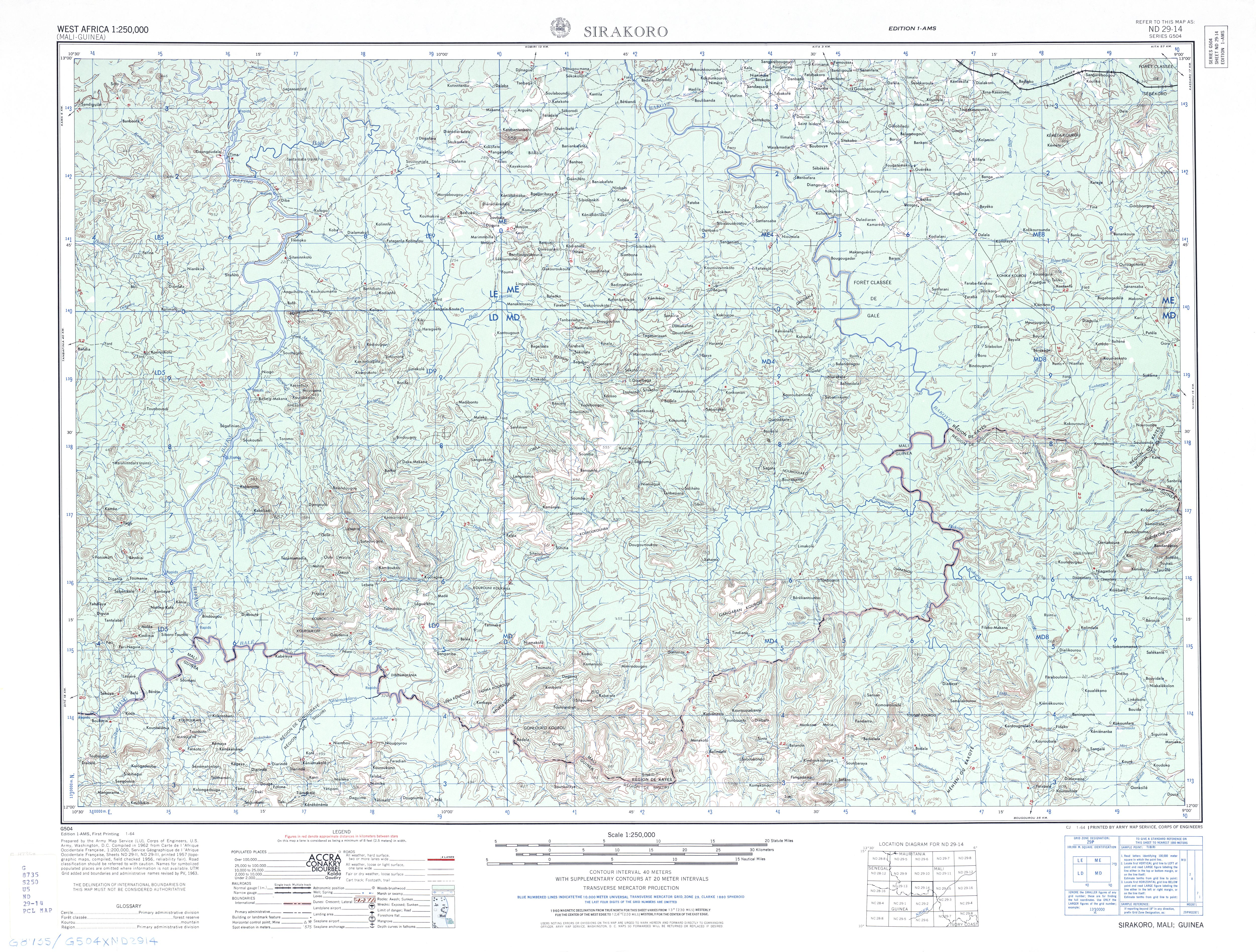 Hoja Sirakoro del Mapa Topográfico de África Occidental 1955