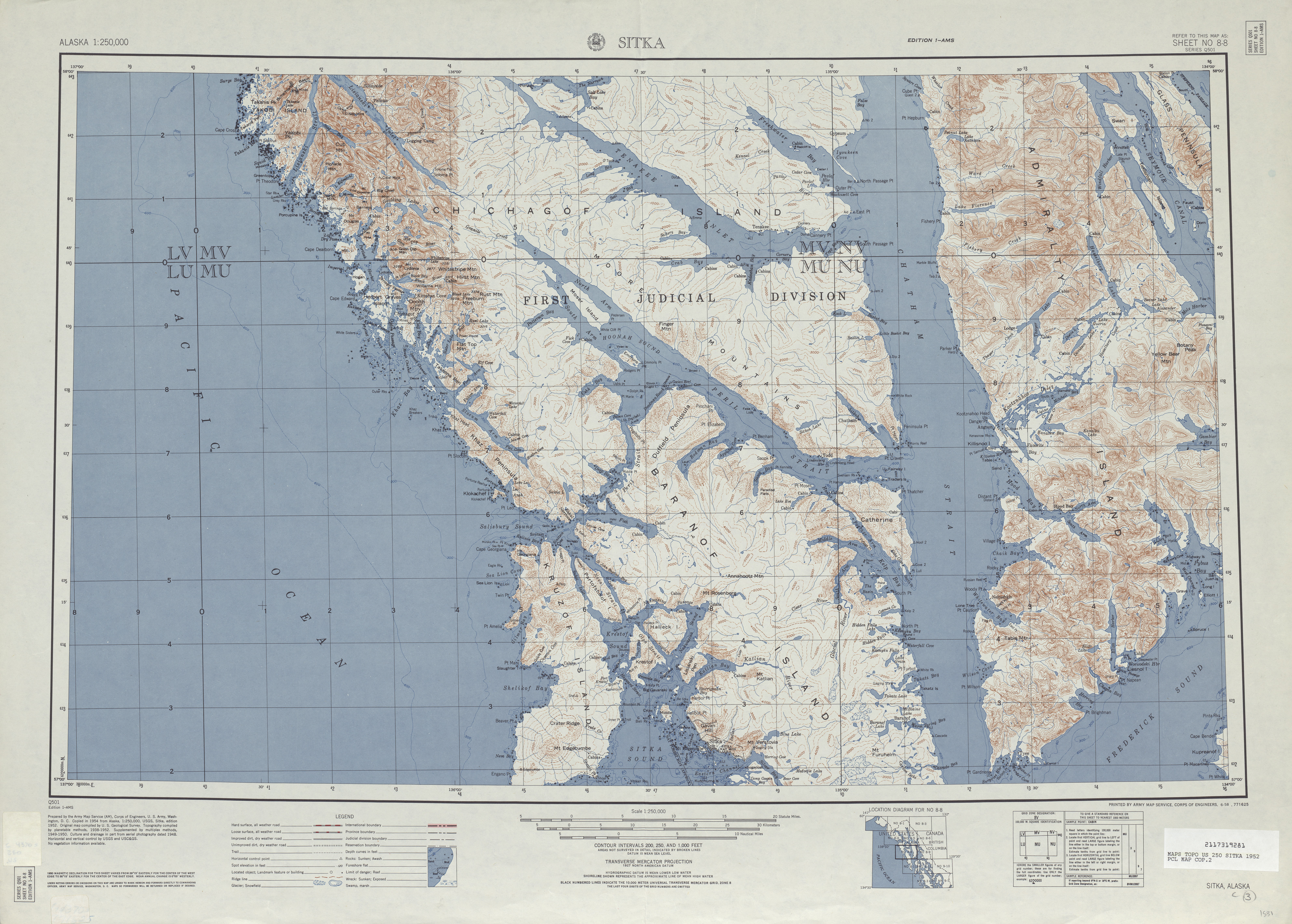 Sitka Topographic Map Sheet, United States 1952