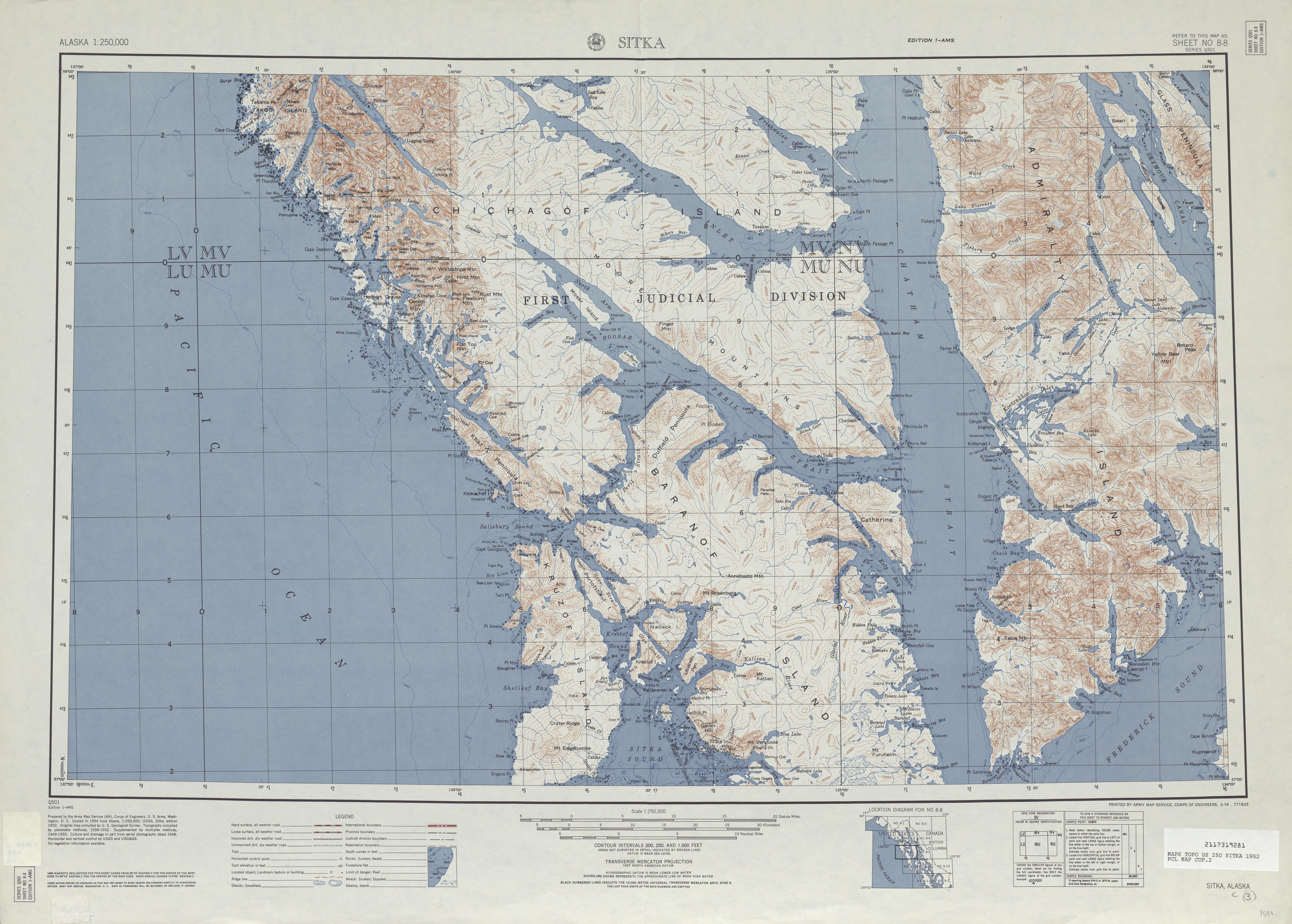 Hoja Sitka del Mapa Topográfico de los Estados Unidos 1952