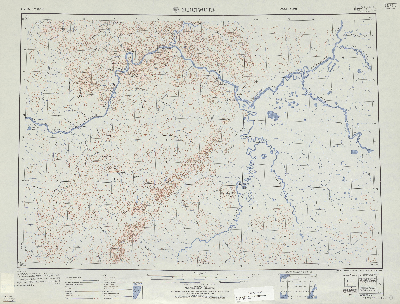 Hoja Sleetmute del Mapa Topográfico de los Estados Unidos 1951