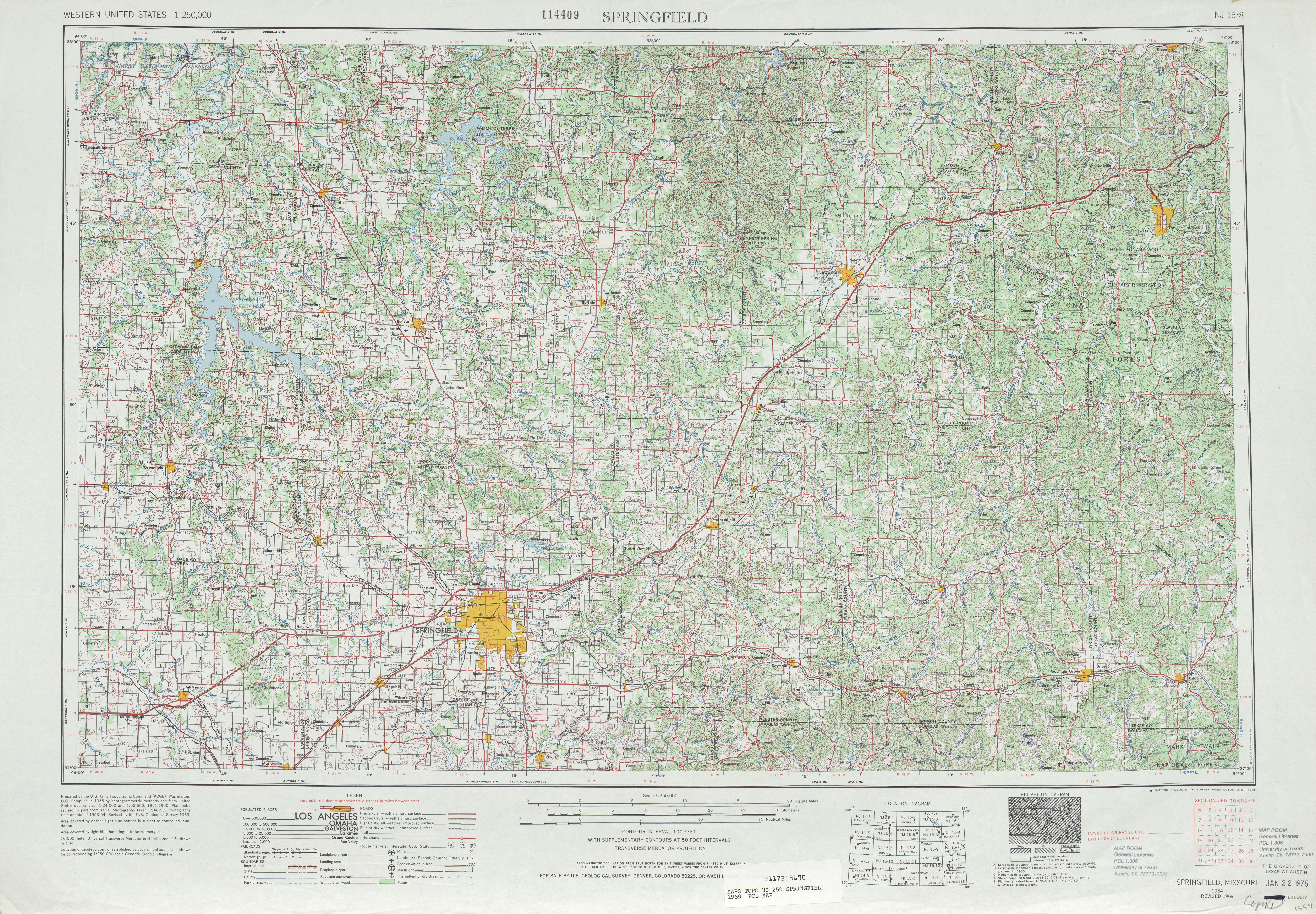 Hoja Springfield del Mapa Topográfico de los Estados Unidos 1969