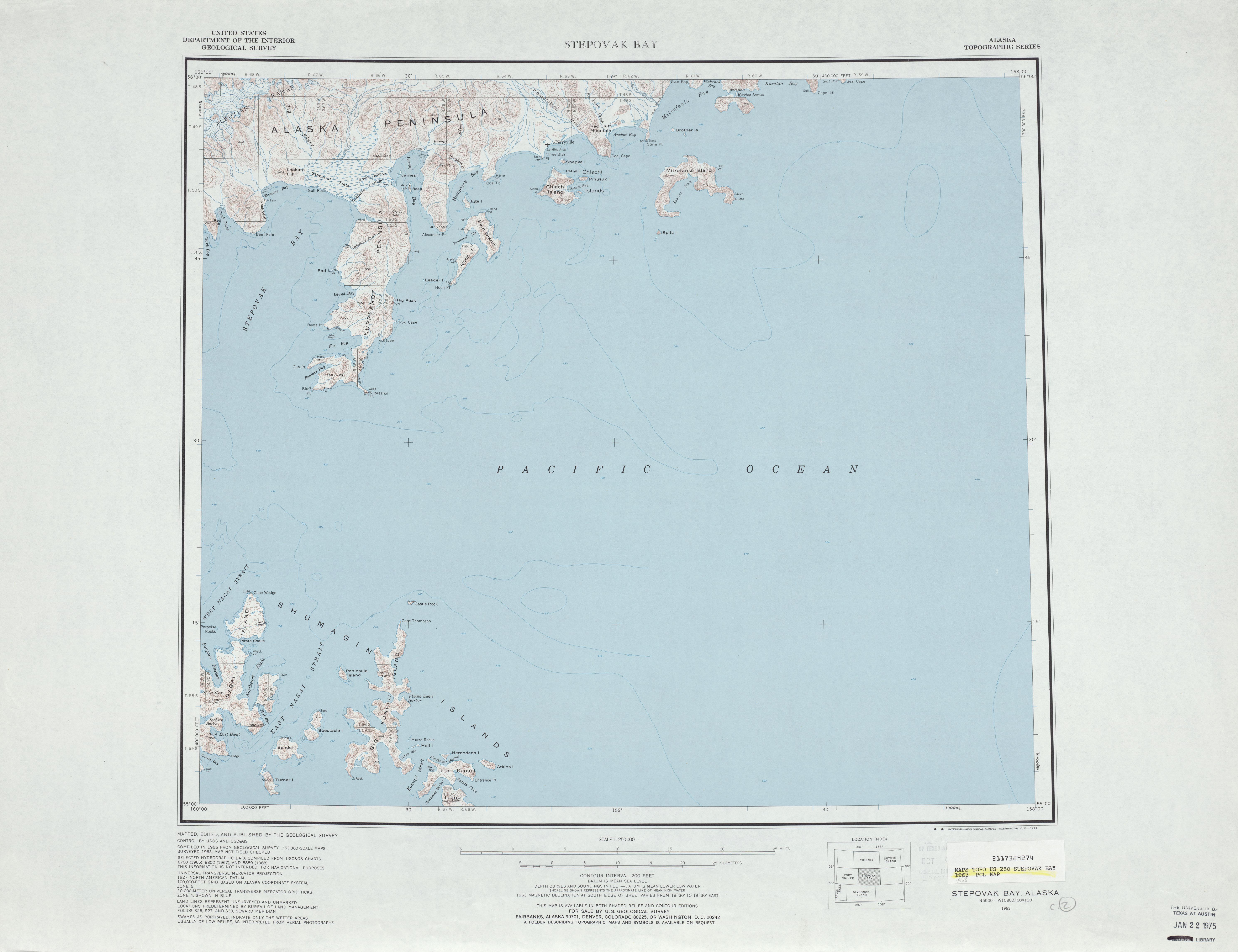 Hoja Stepovak Bay del Mapa Topográfico de los Estados Unidos 1968