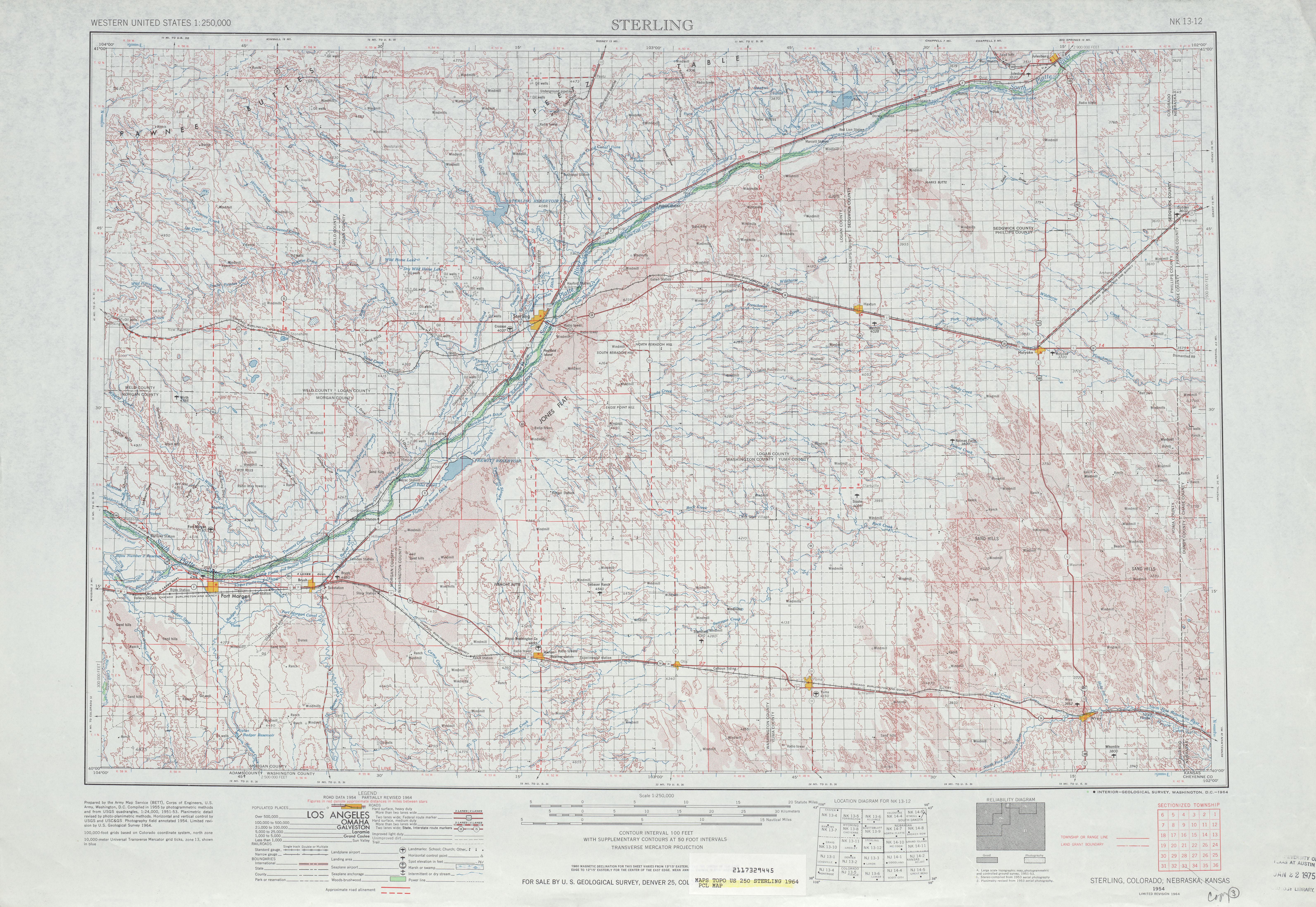 Hoja Sterling del Mapa Topográfico de los Estados Unidos 1964