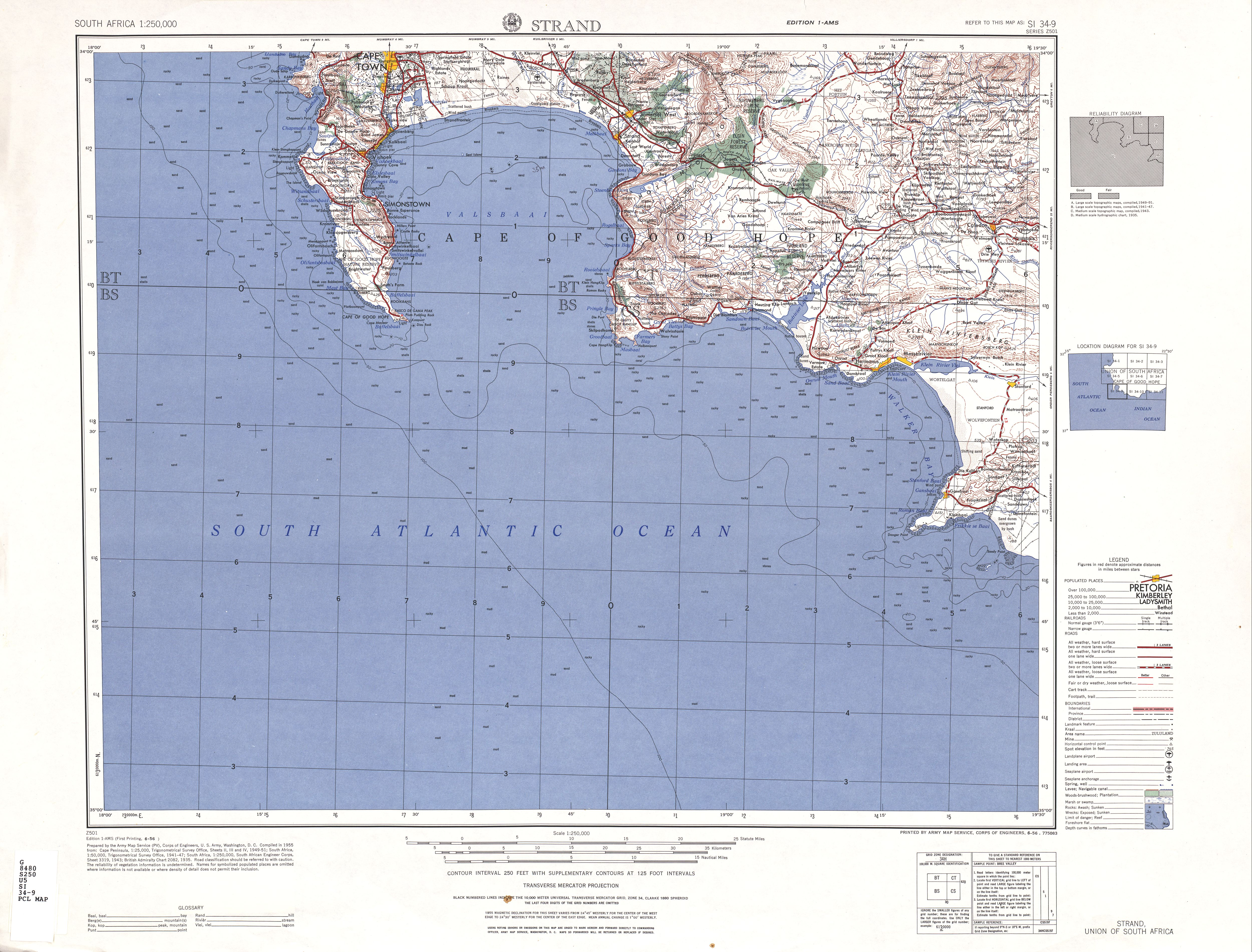 Strand Topographic Map Sheet, Southern Africa 1954