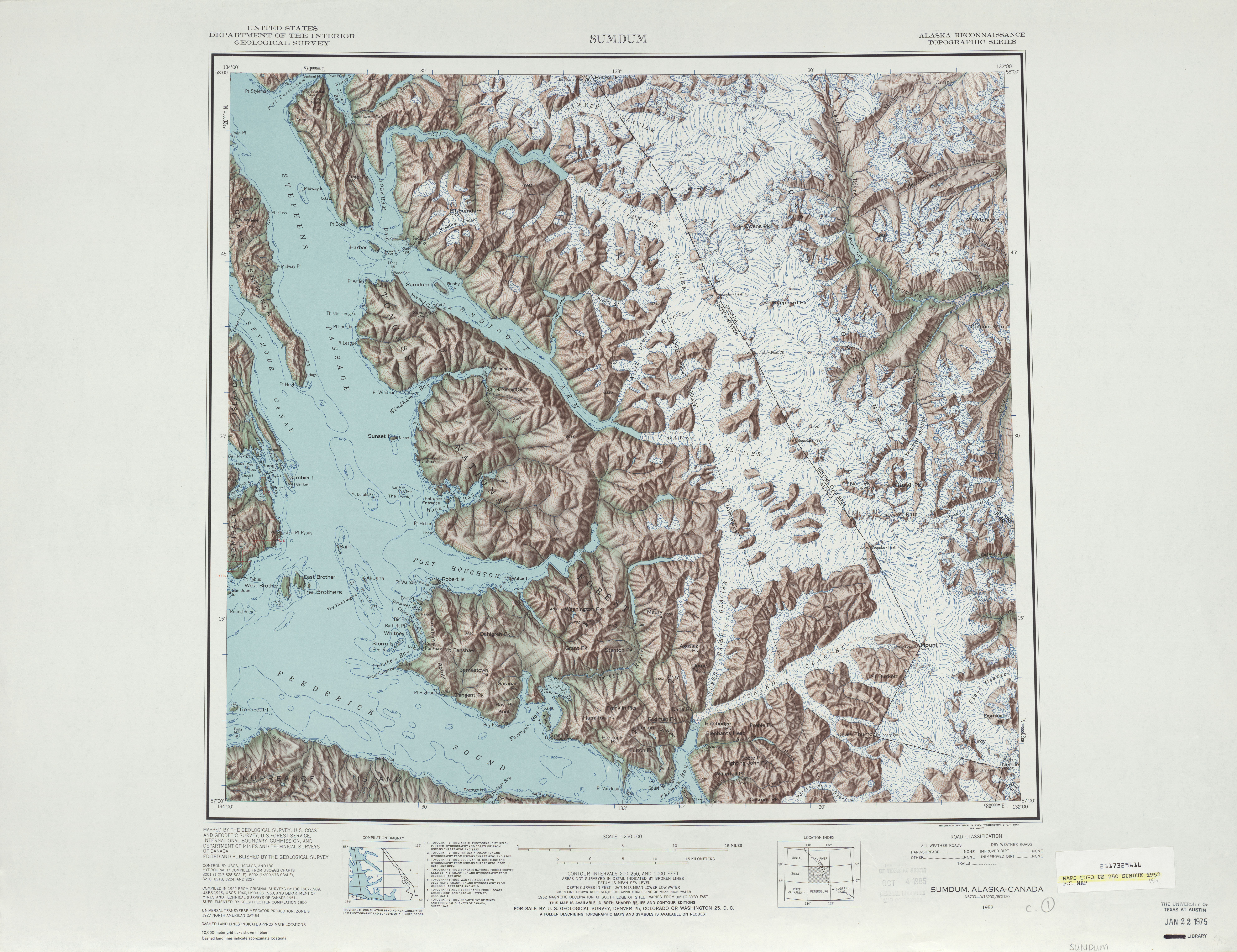 Sumdum Shaded Relief Map Sheet, United States 1951