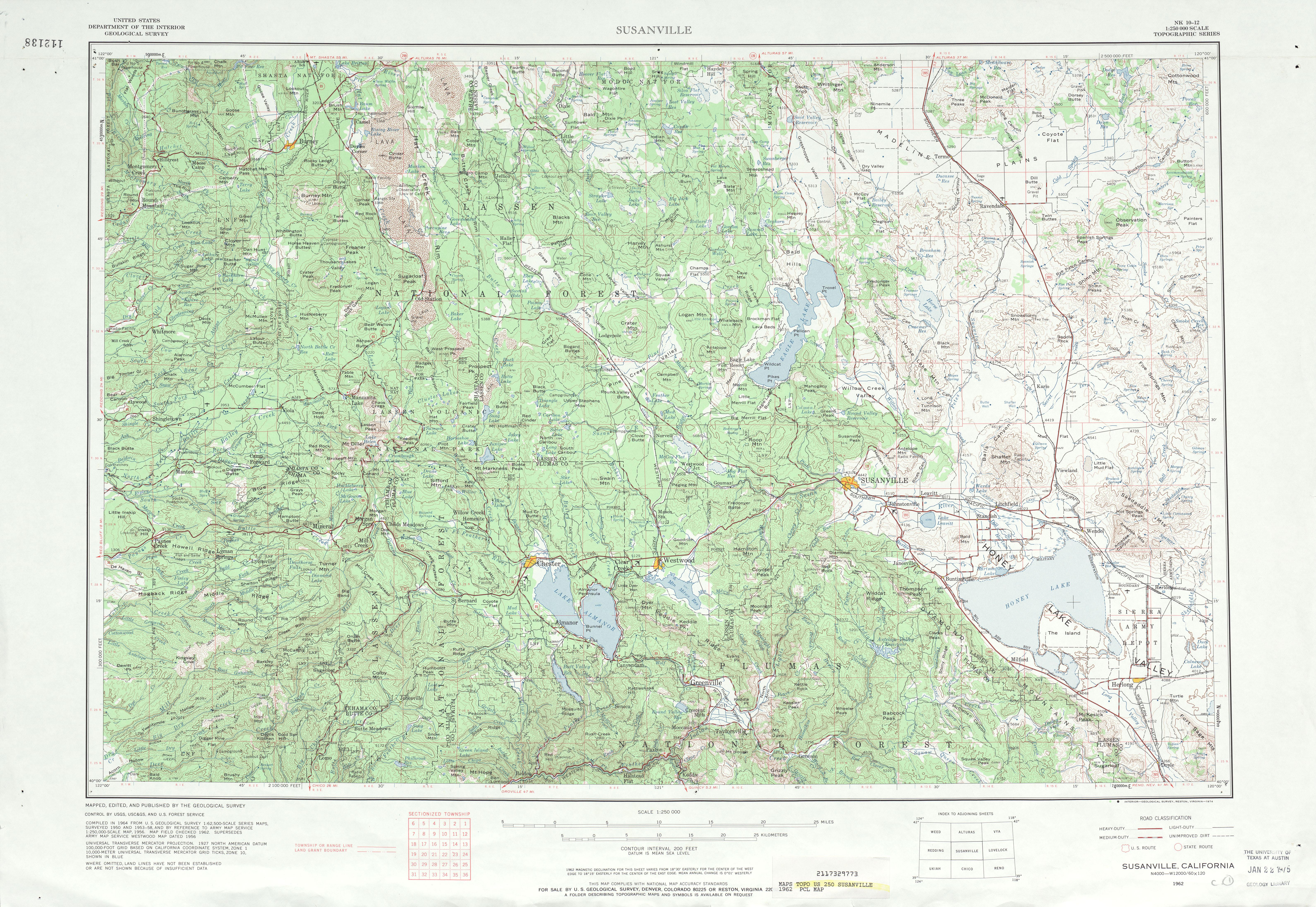 Hoja Susanville del Mapa Topográfico de los Estados Unidos 1962