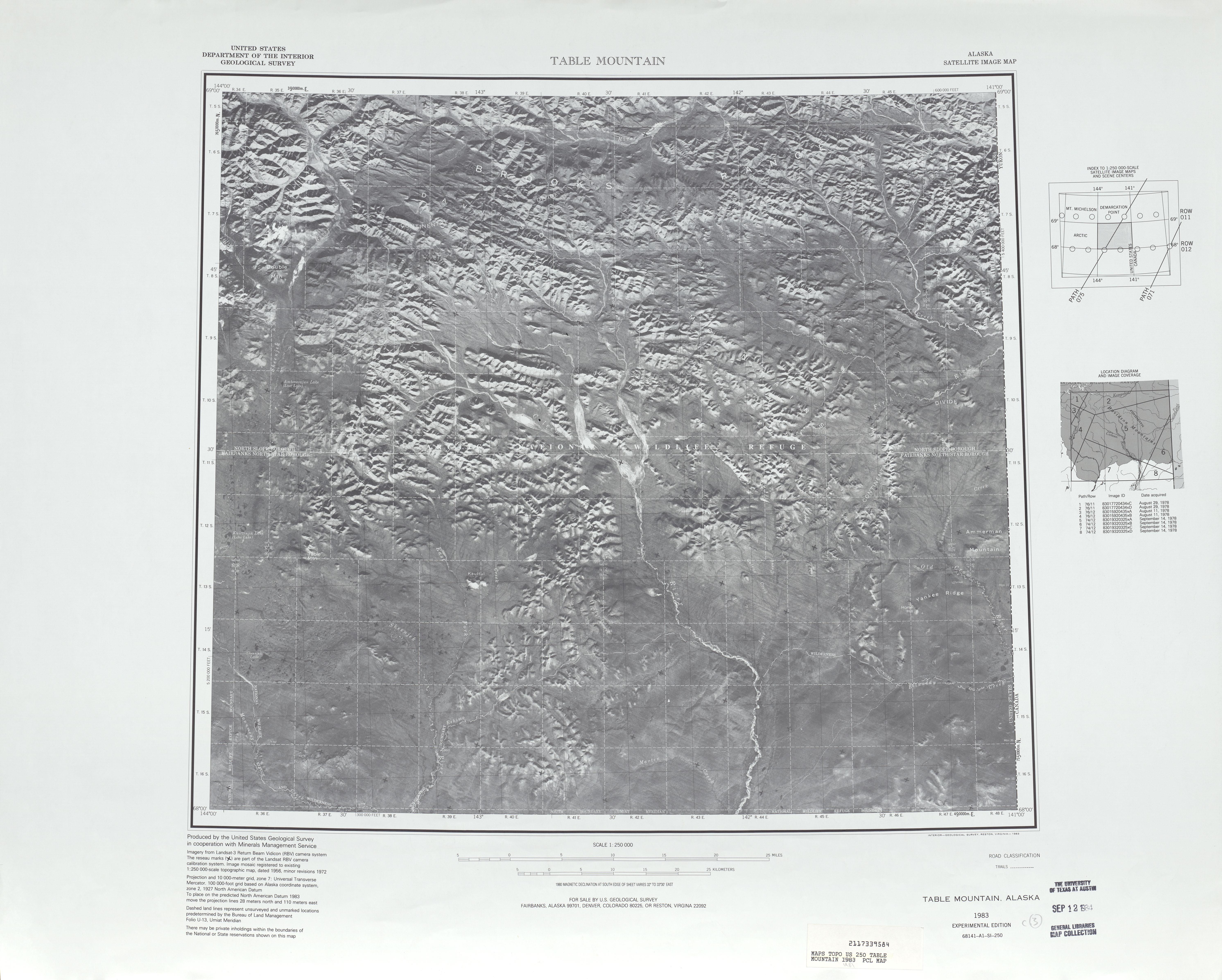 Table Mountain Satellite Image Sheet, United States