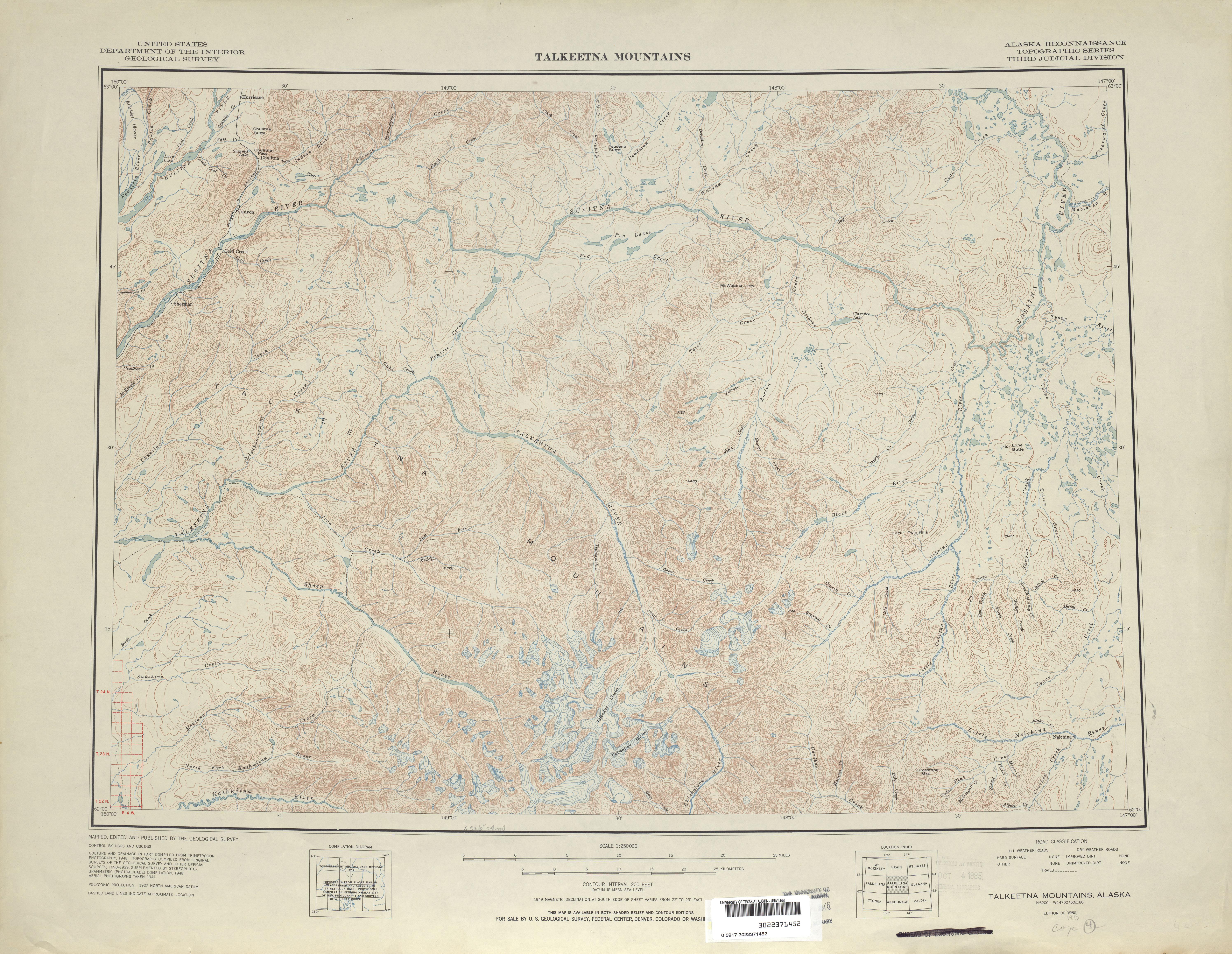Hoja Talkeetna Mountains del Mapa Topográfico de los Estados Unidos 1948