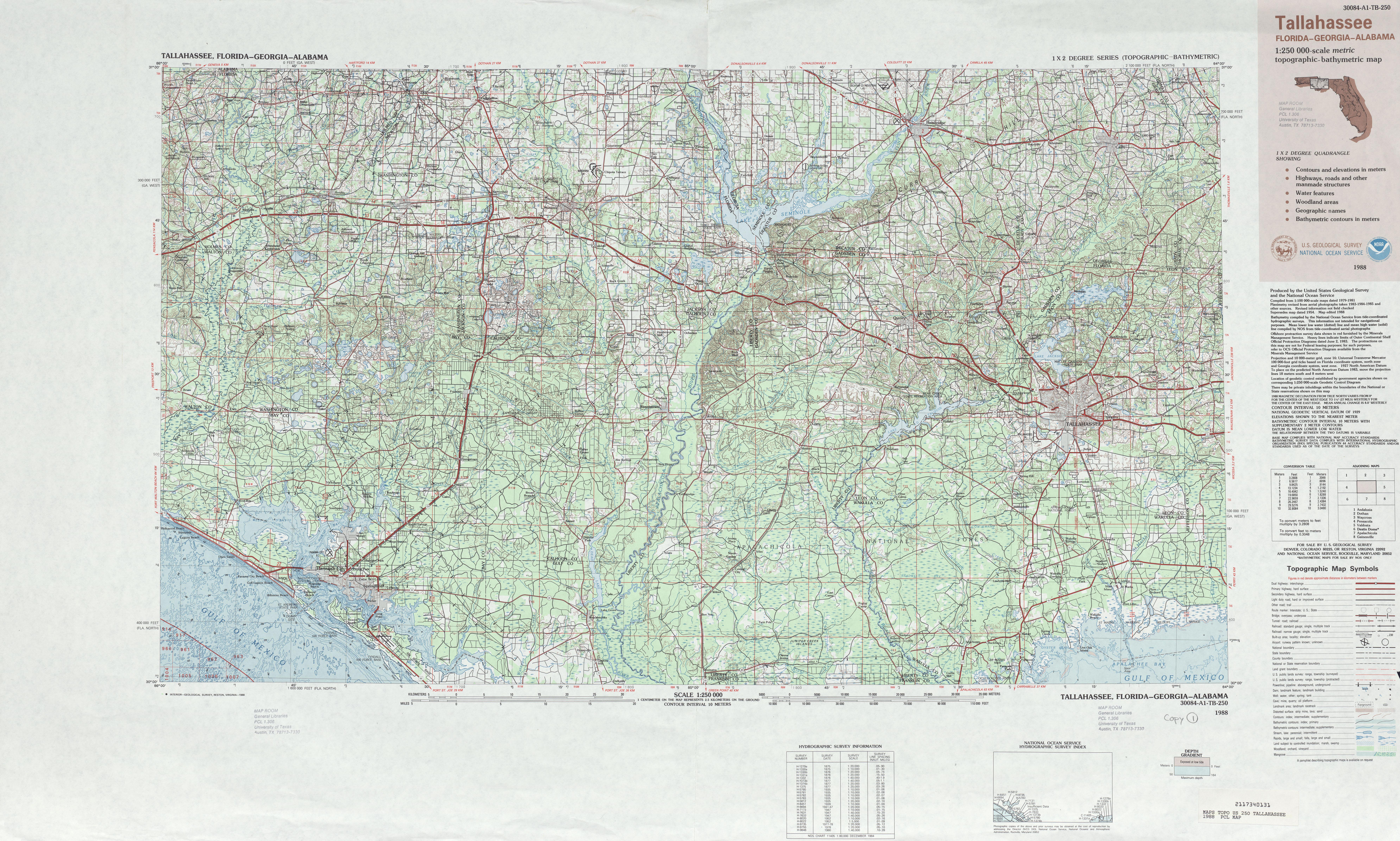 Hoja Tallahassee  Mapa Topográfico de-Batimétrico, Estados Unidos 1988