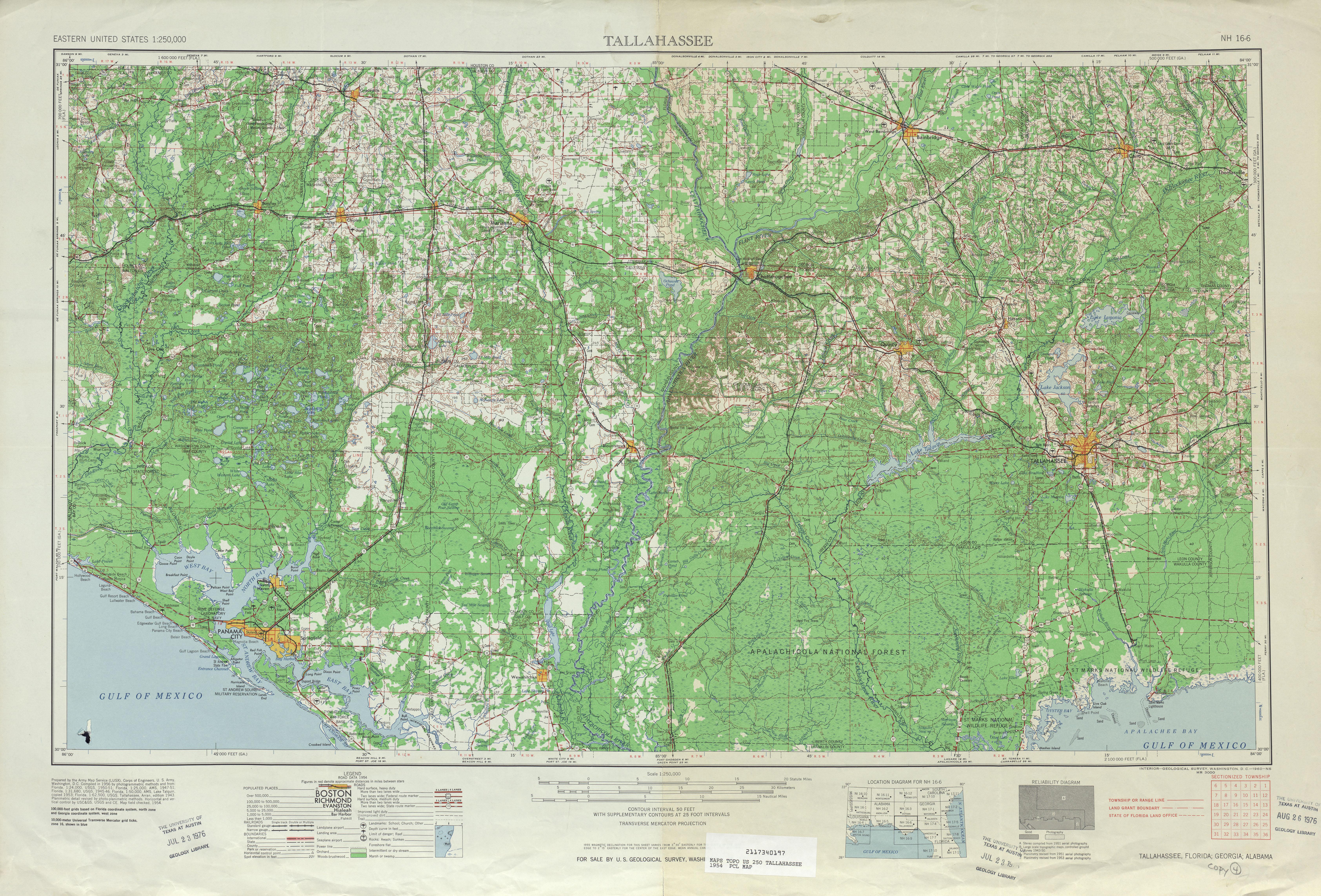 Hoja Tallahassee del Mapa Topográfico de los Estados Unidos 1954