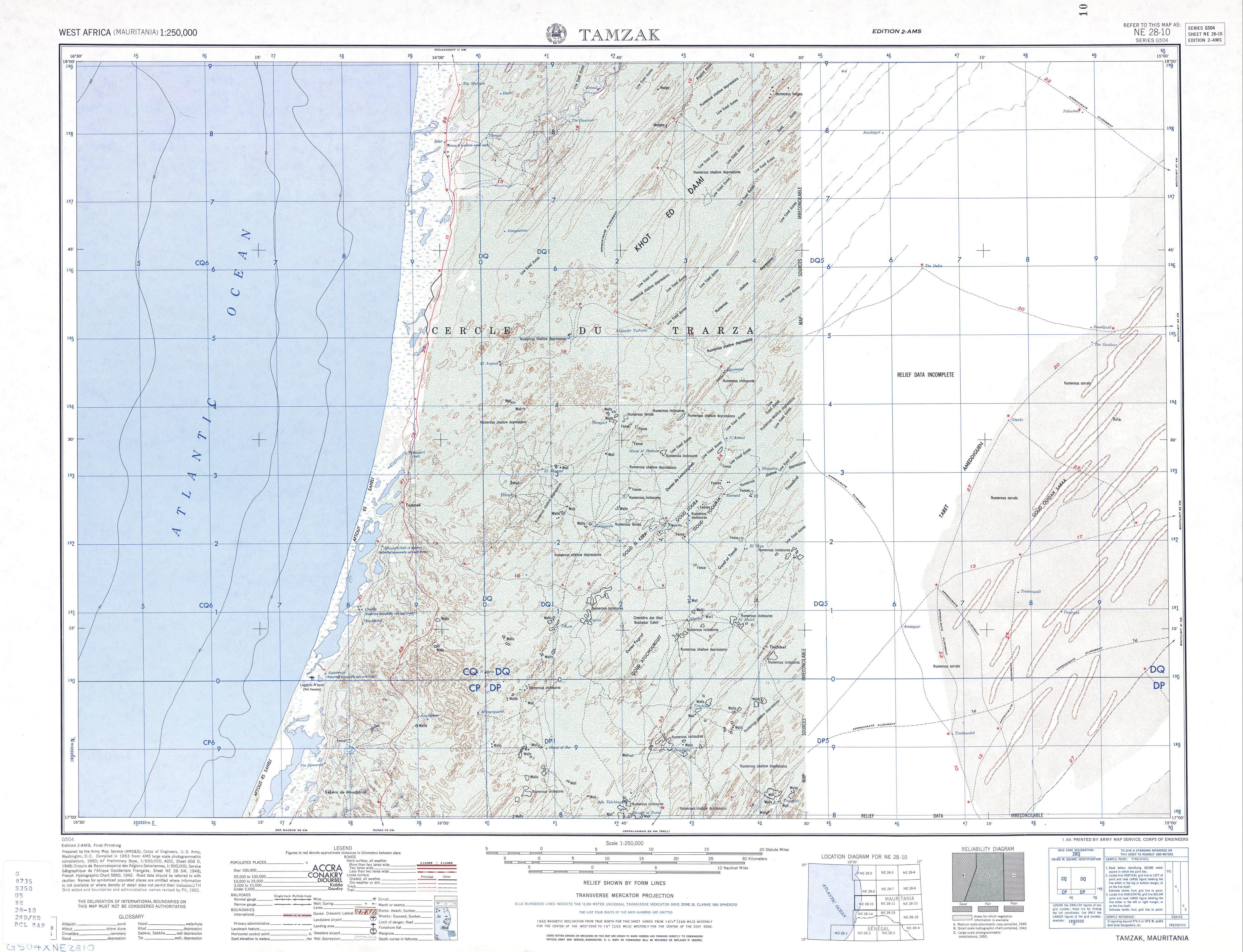 Hoja Tamzak del Mapa Topográfico de África Occidental 1955