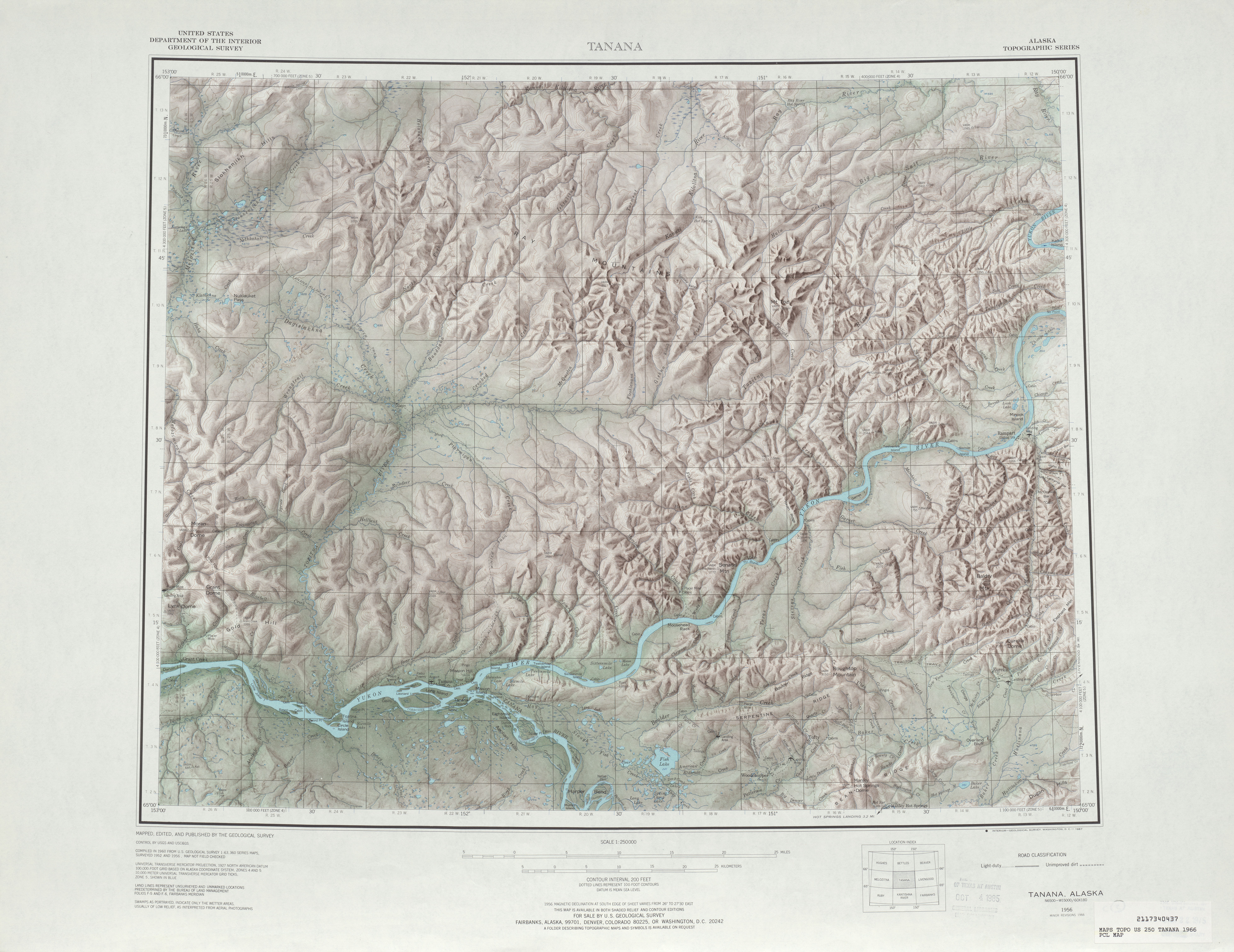 Tanana Shaded Relief Map Sheet, United States 1966