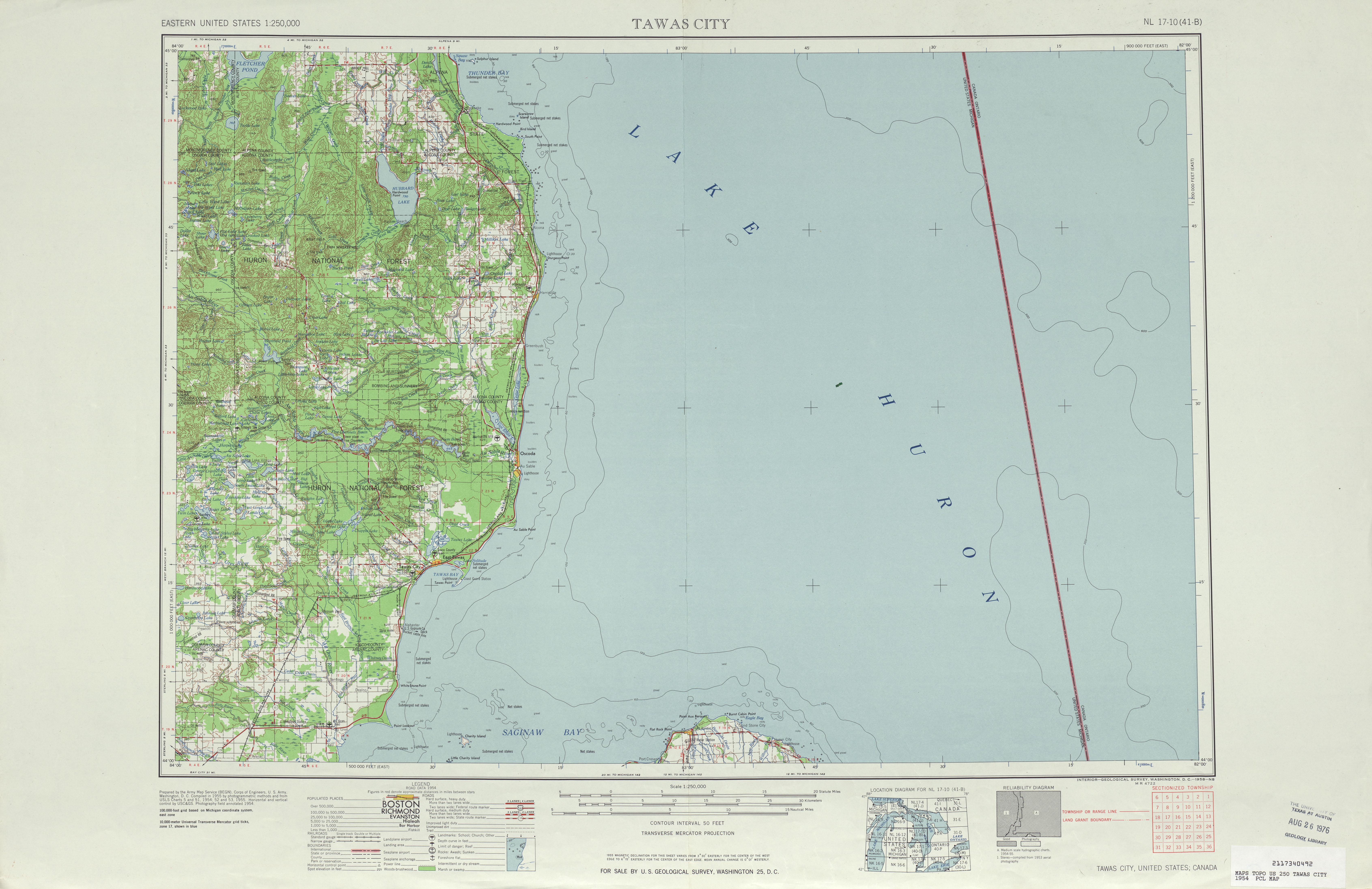 Hoja Tawas City  del Mapa Topográfico de los Estados Unidos 1954