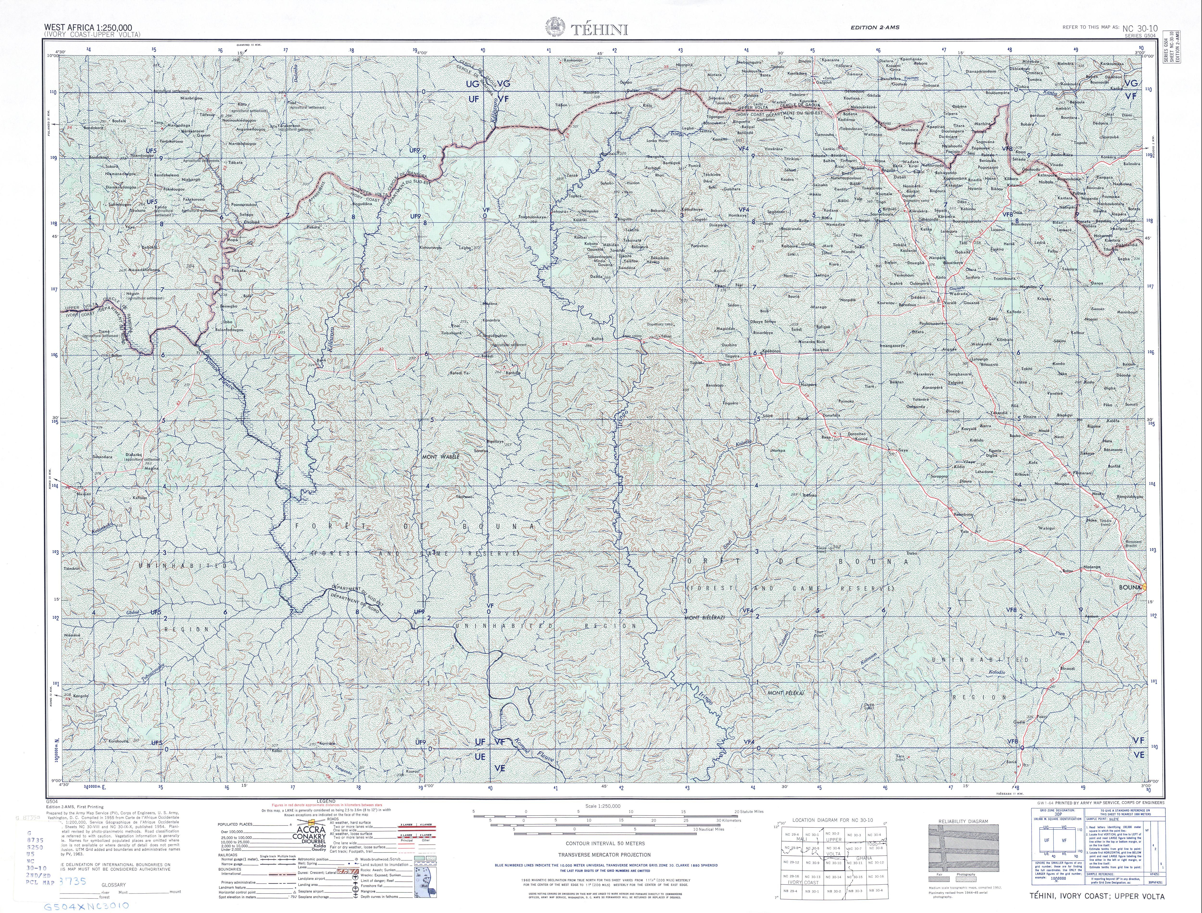 Hoja Tehini del Mapa Topográfico de África Occidental 1955
