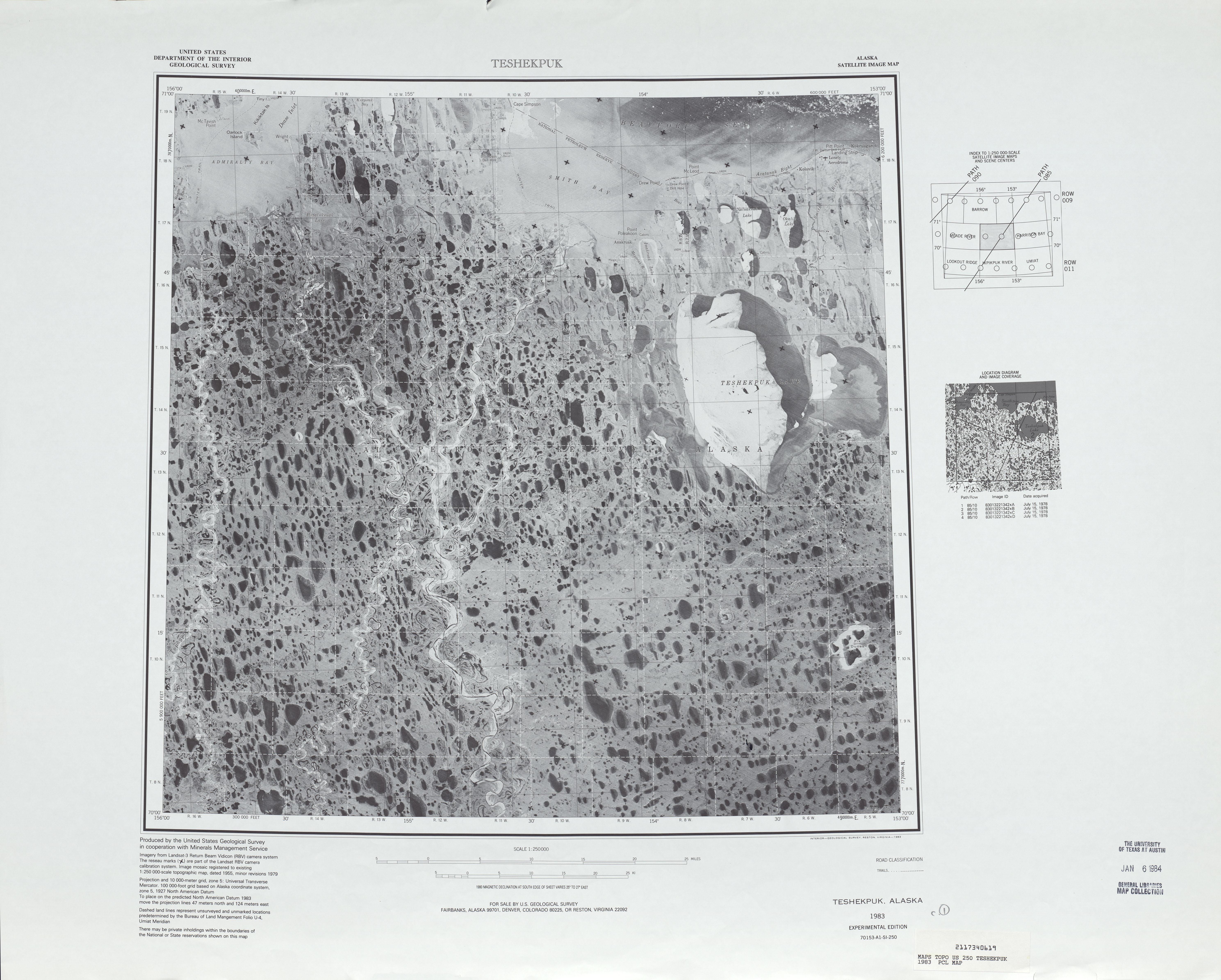 Teshekpuk Satellite Image Sheet, United States 1983