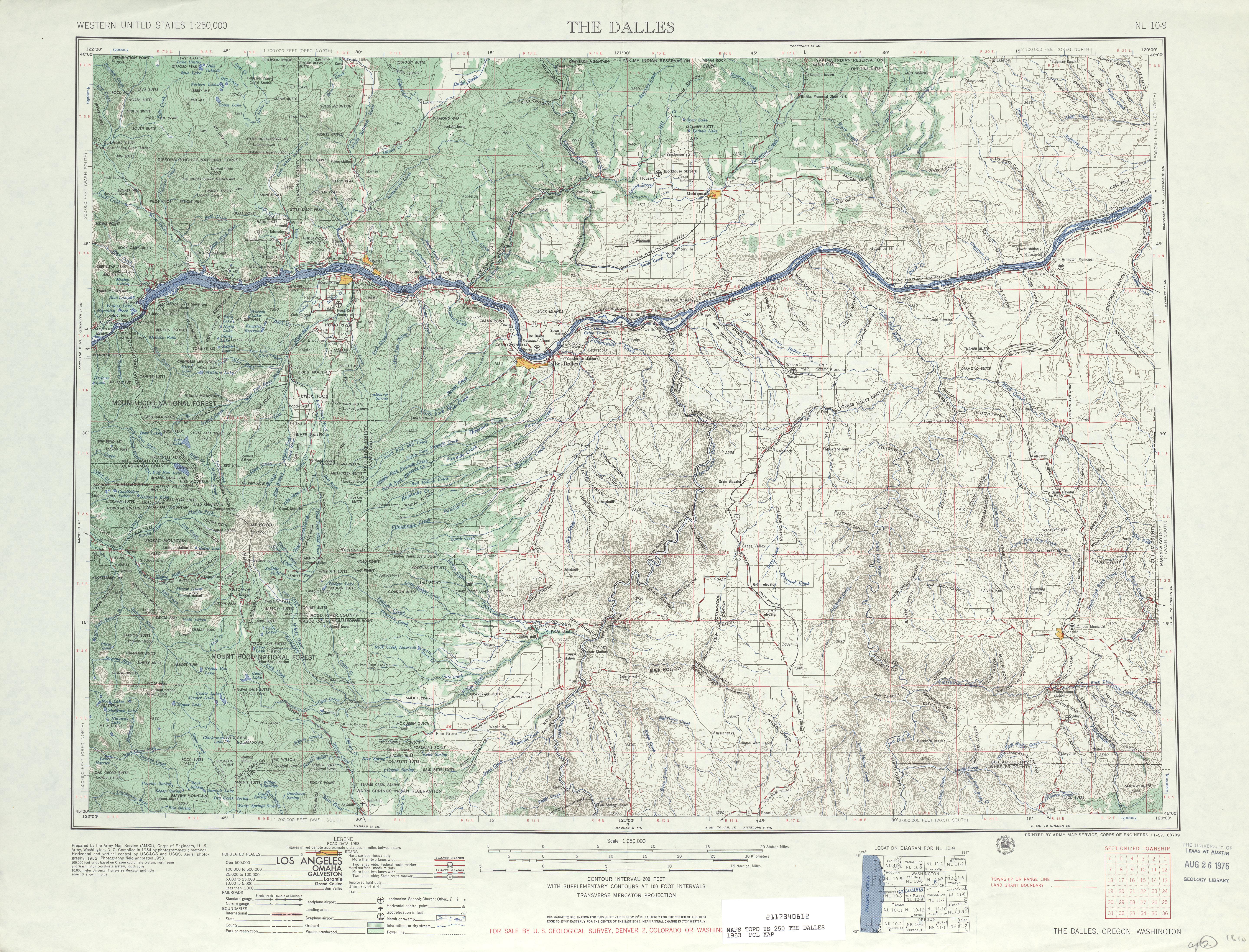 Hoja The Dalles del Mapa Topográfico de los Estados Unidos 1953