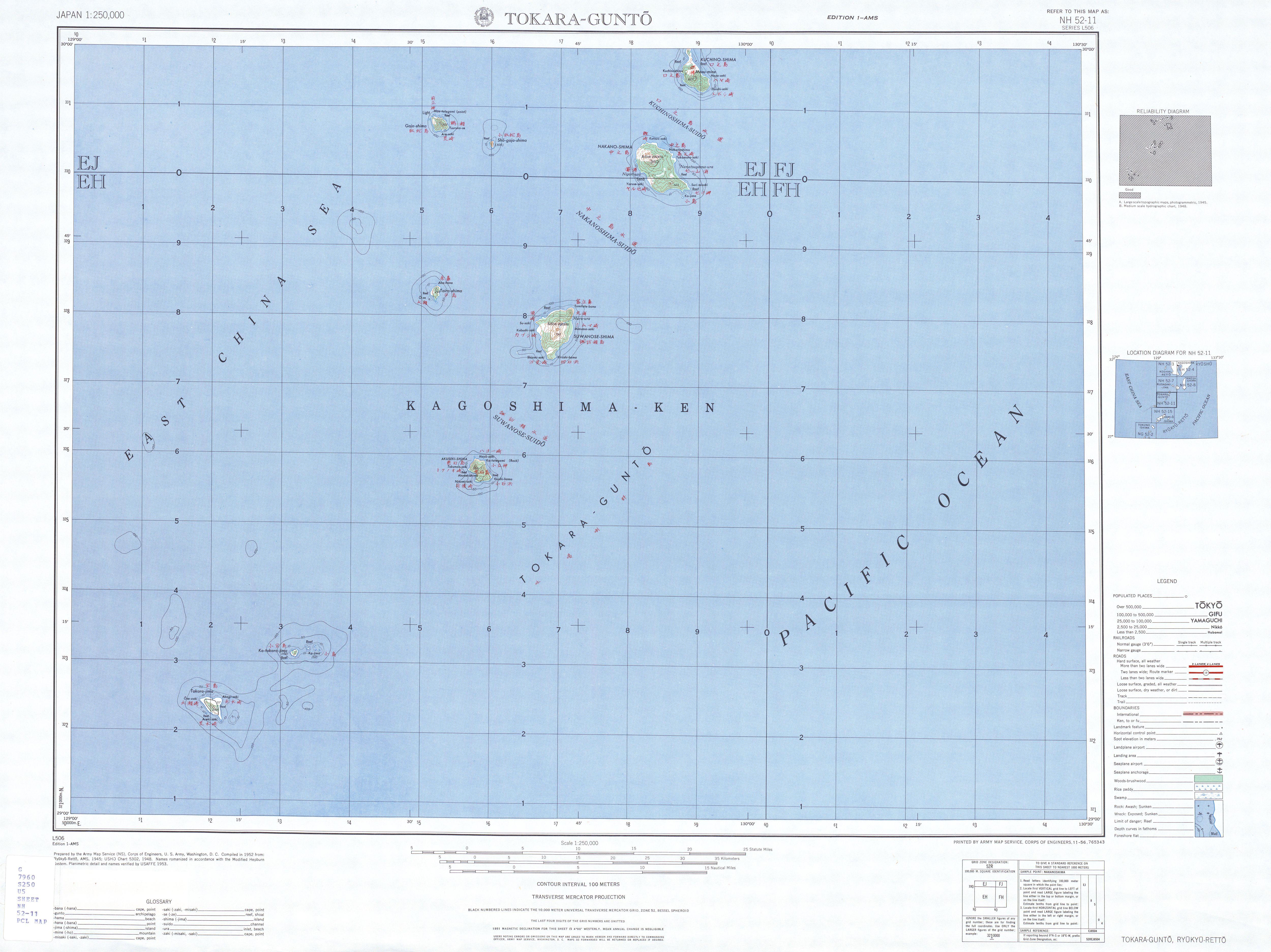 Hoja Tokara-Gunto del Mapa Topográfico de Japón 1954