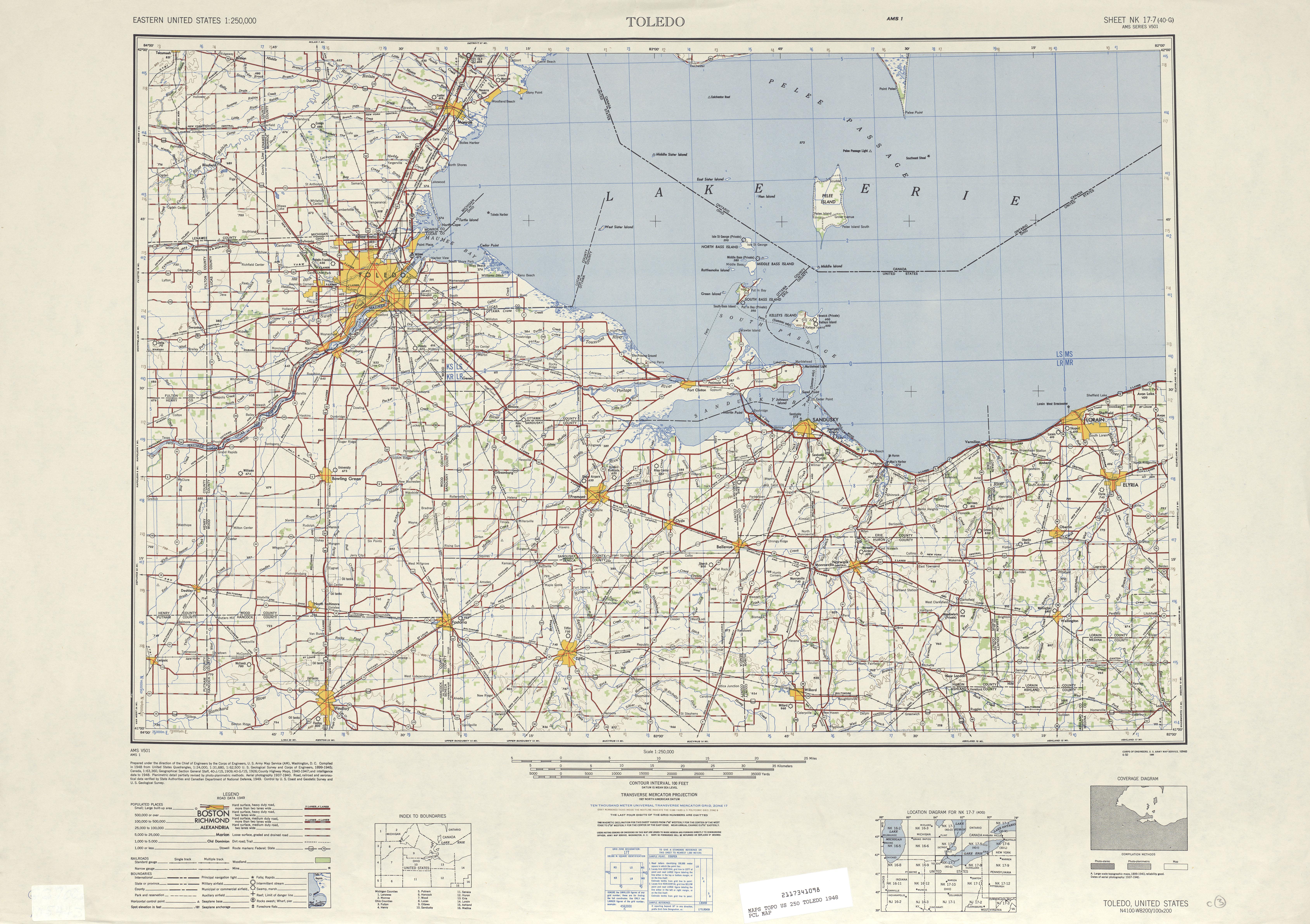 Hoja Toledo del Mapa Topográfico de los Estados Unidos 1948