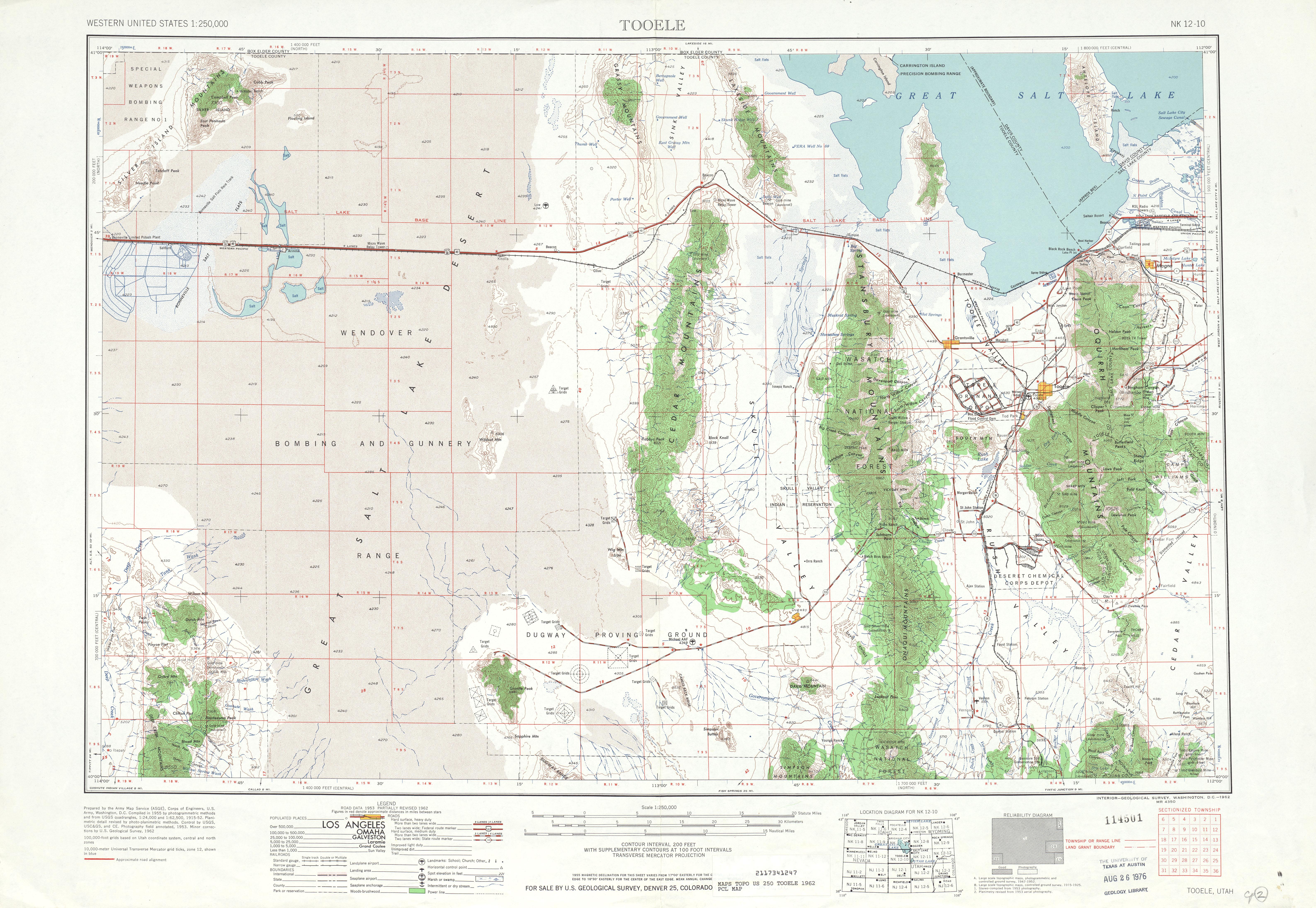 Hoja Tooele del Mapa Topográfico de los Estados Unidos 1962