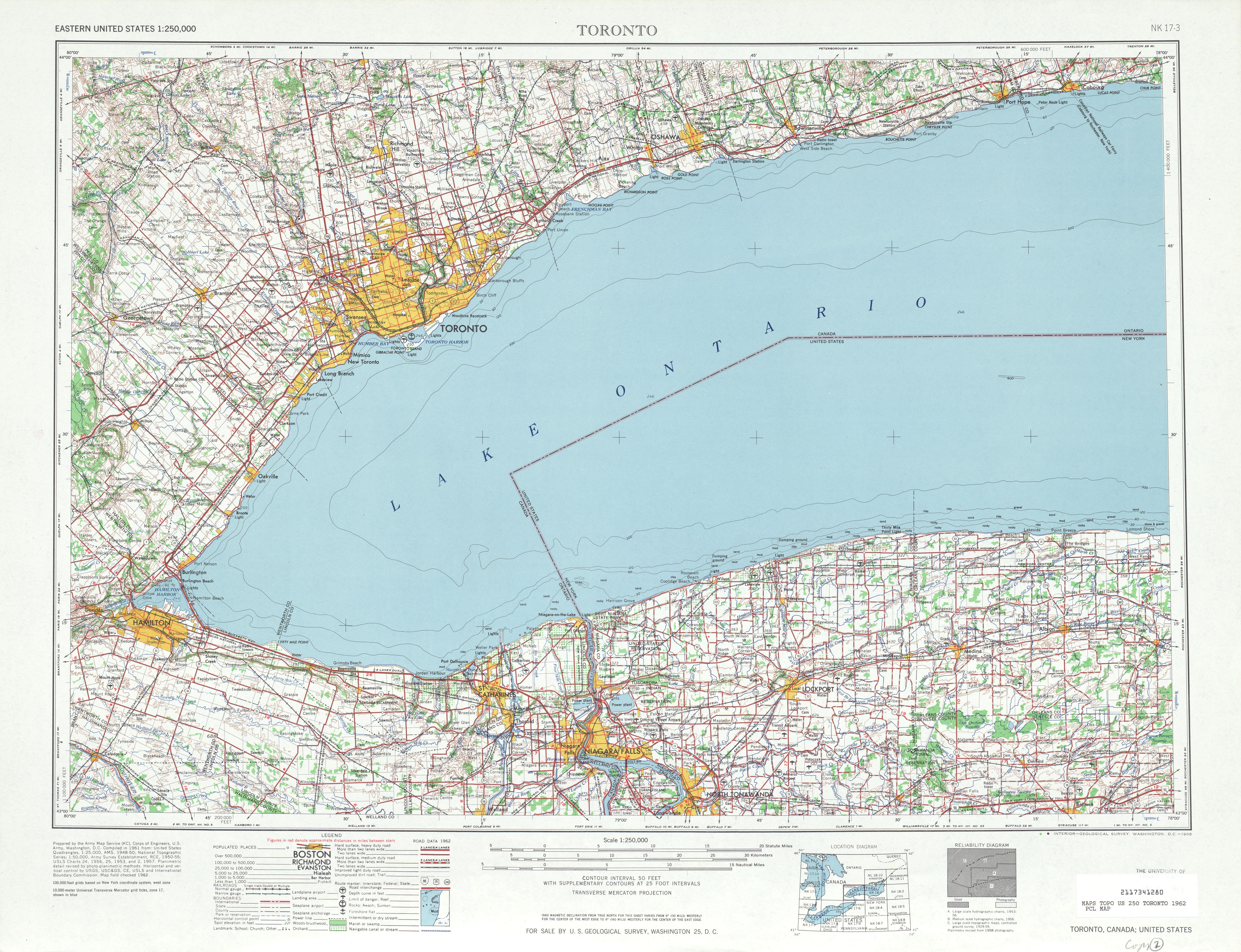 Hoja Toronto del Mapa Topográfico de los Estados Unidos 1962