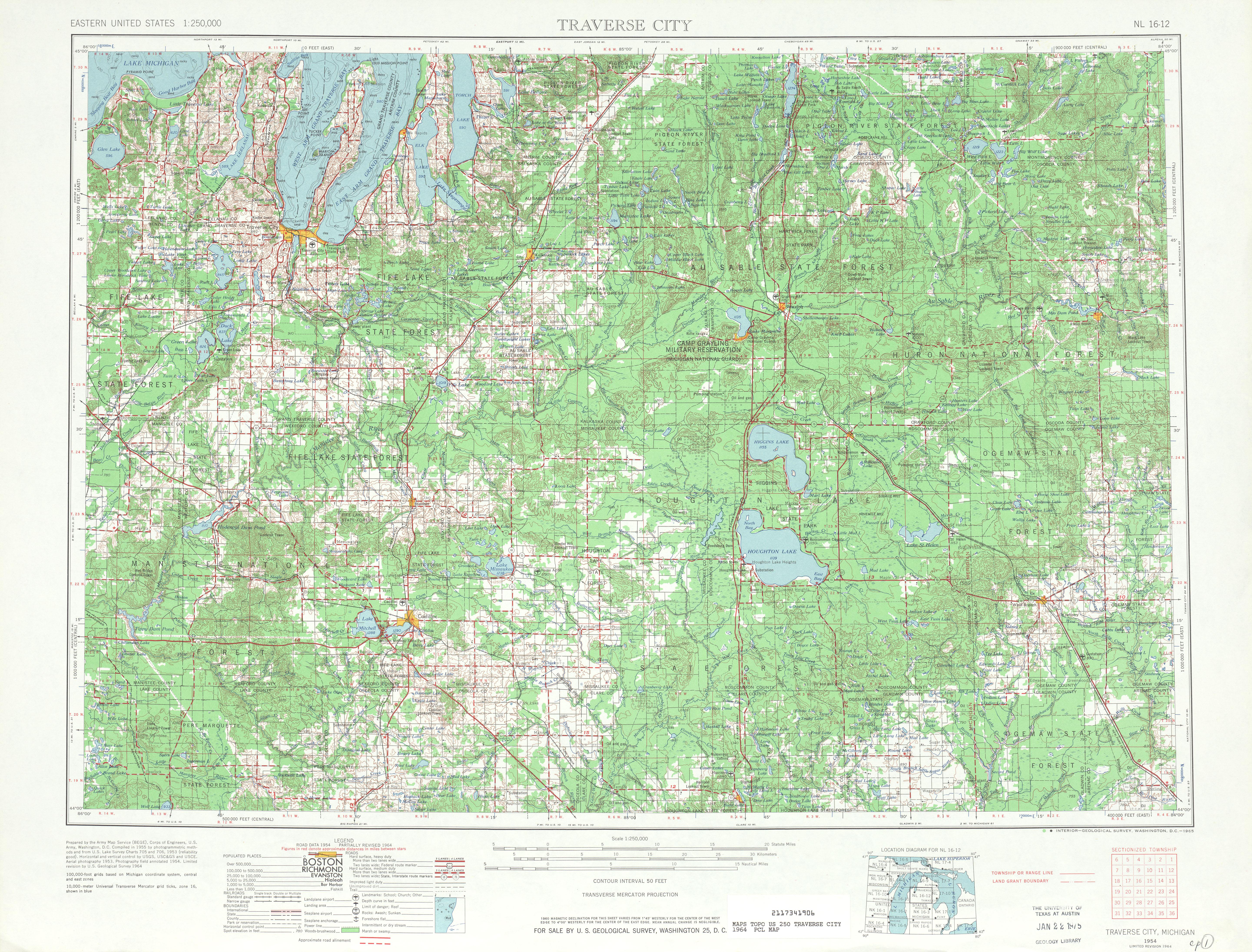 Hoja Traverse City del Mapa Topográfico de los Estados Unidos 1964