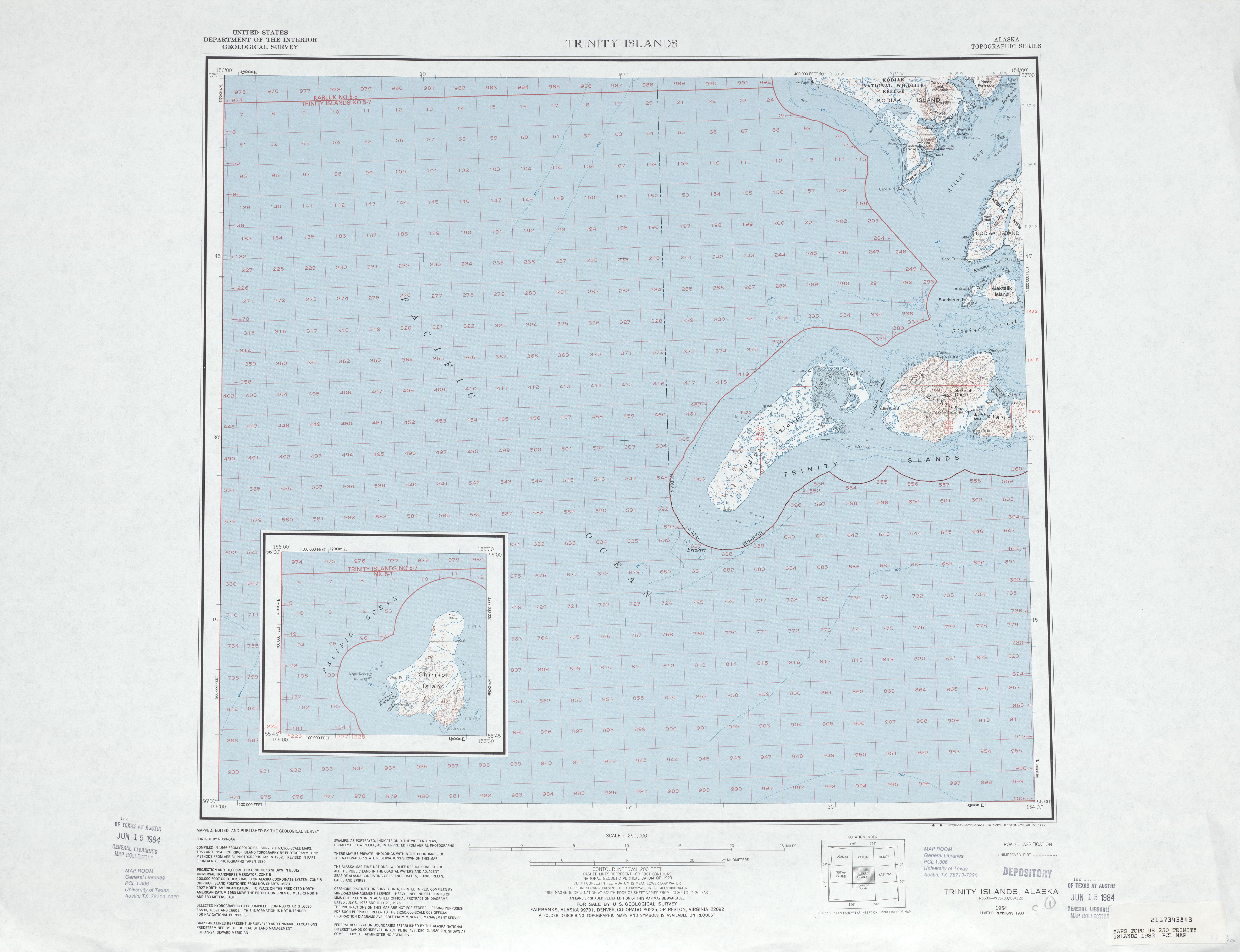 Hoja Trinity Islands del Mapa Topográfico de los Estados Unidos 1983