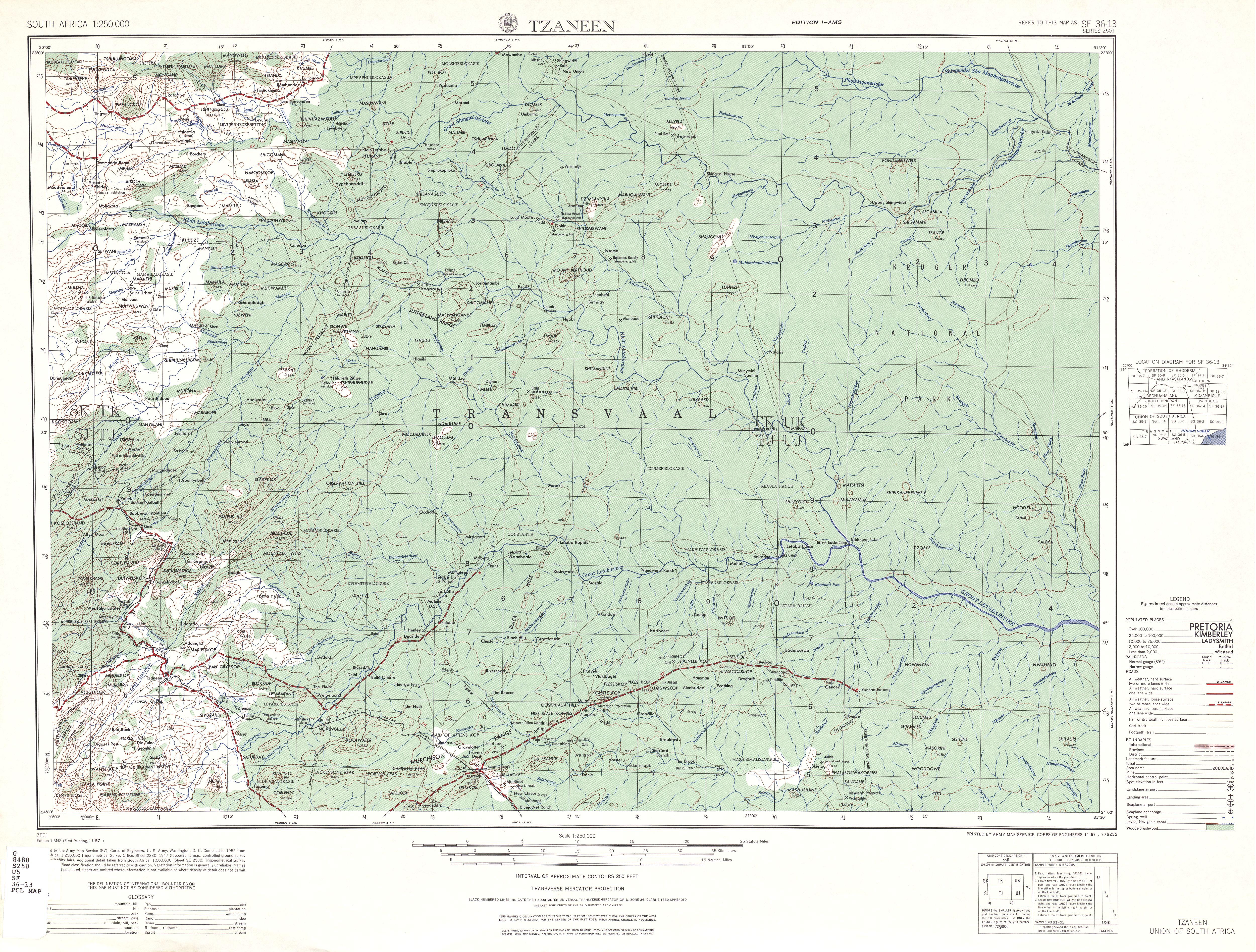 Hoja Tzaneen del Mapa Topográfico de África Meridional 1954