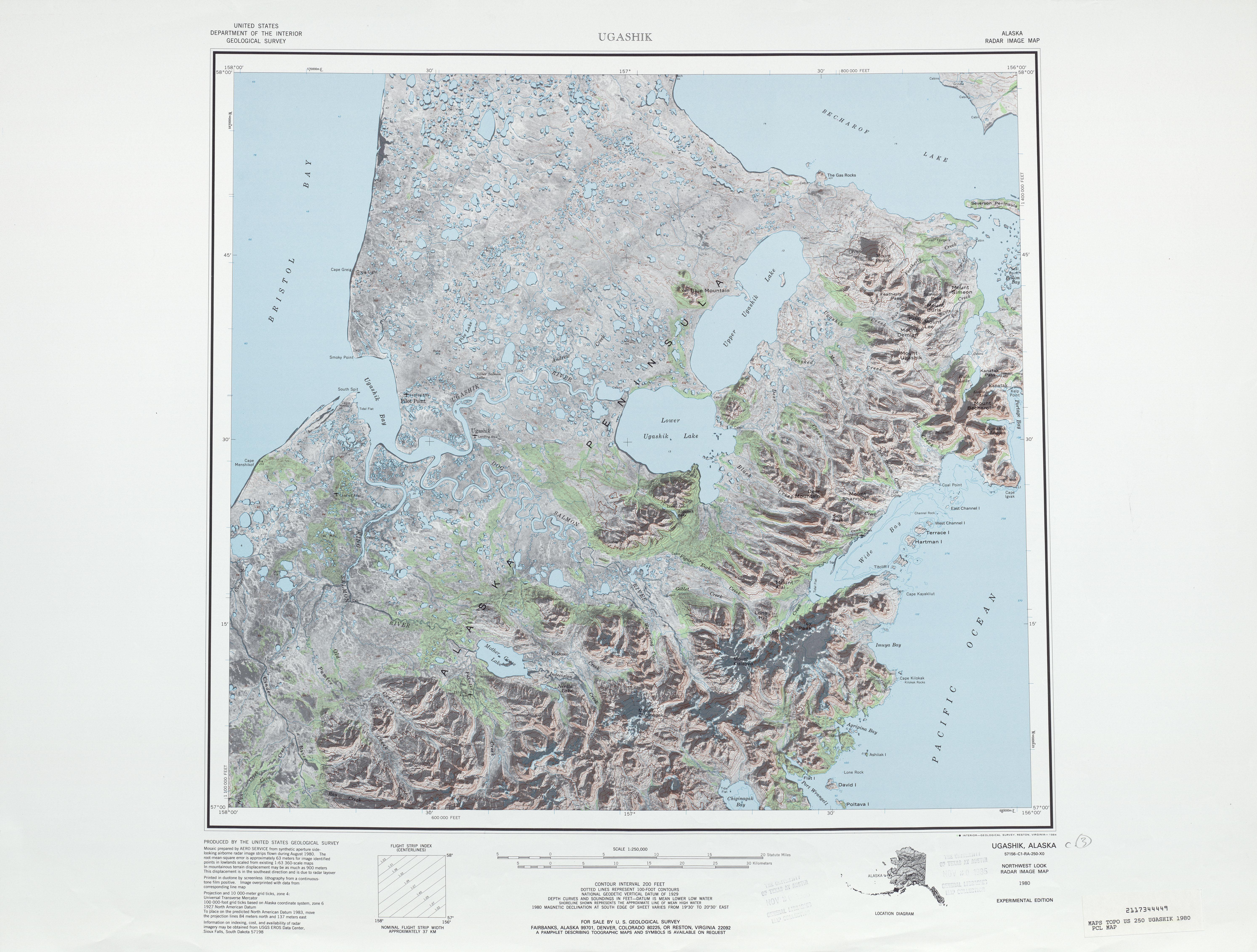 Hoja Ugashik del Mosaico de Imágenes Radar de los Estados Unidos 1980