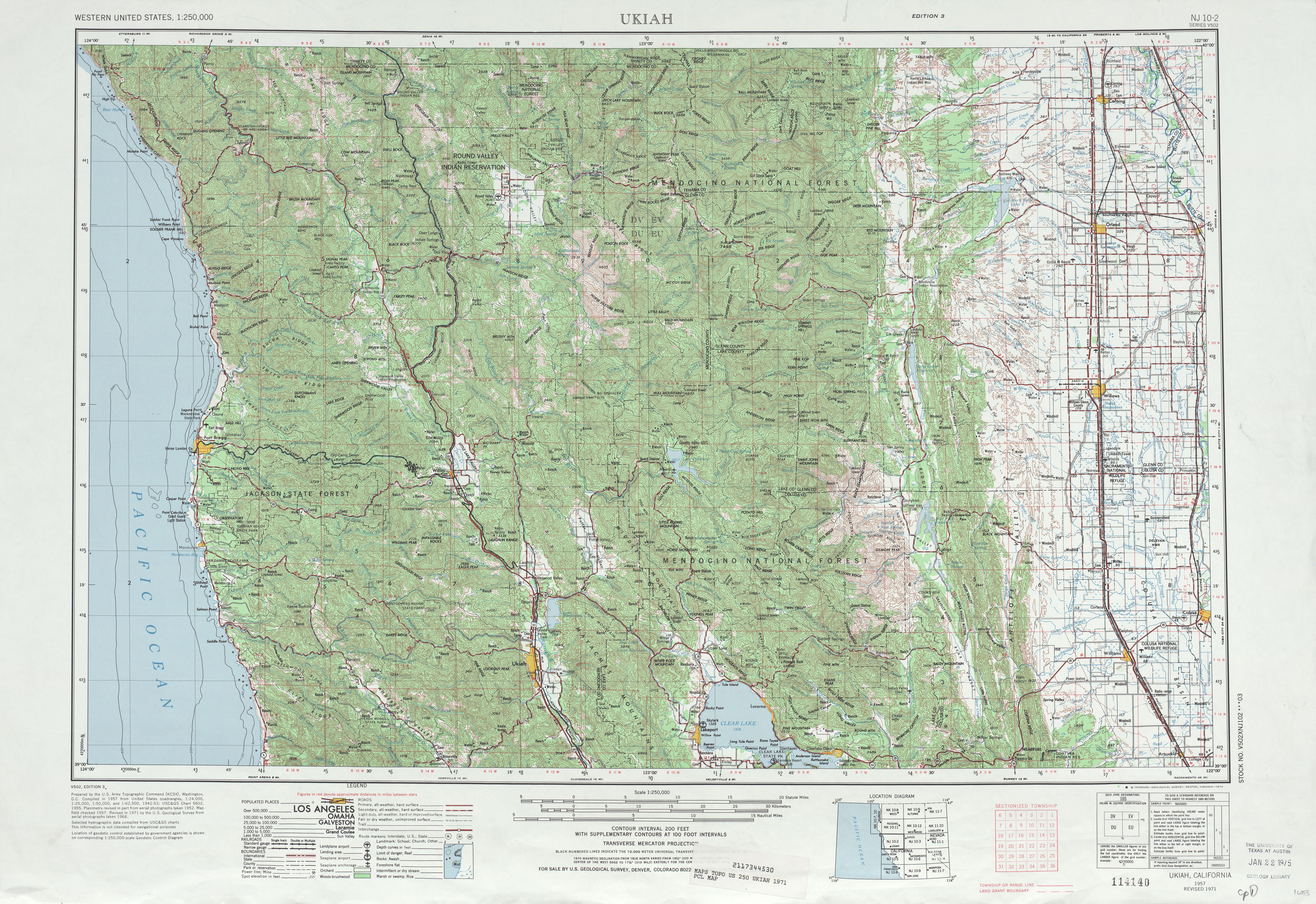 Hoja Ukiah del Mapa Topográfico de los Estados Unidos 1971