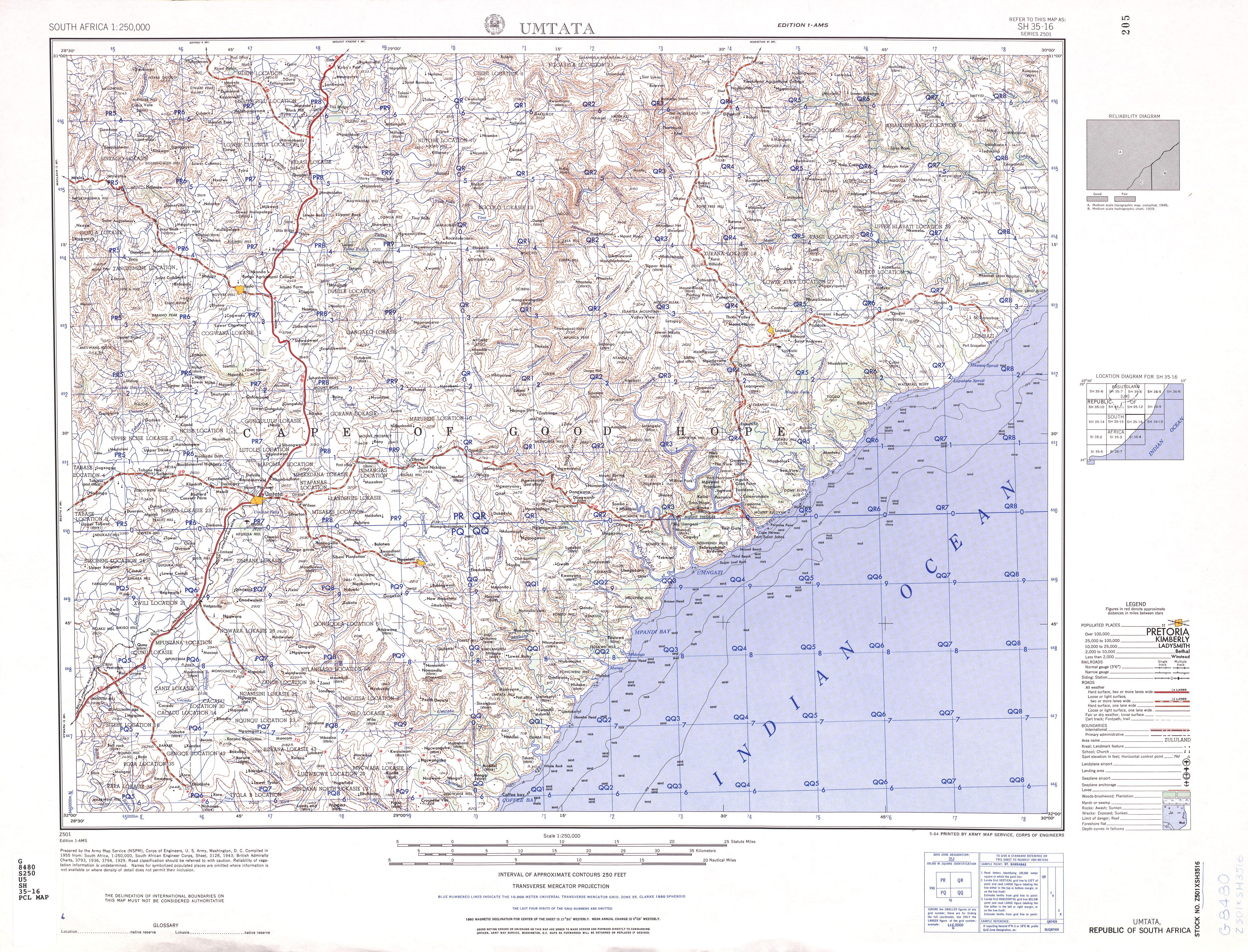 Hoja Umtata del Mapa Topográfico de África Meridional 1954