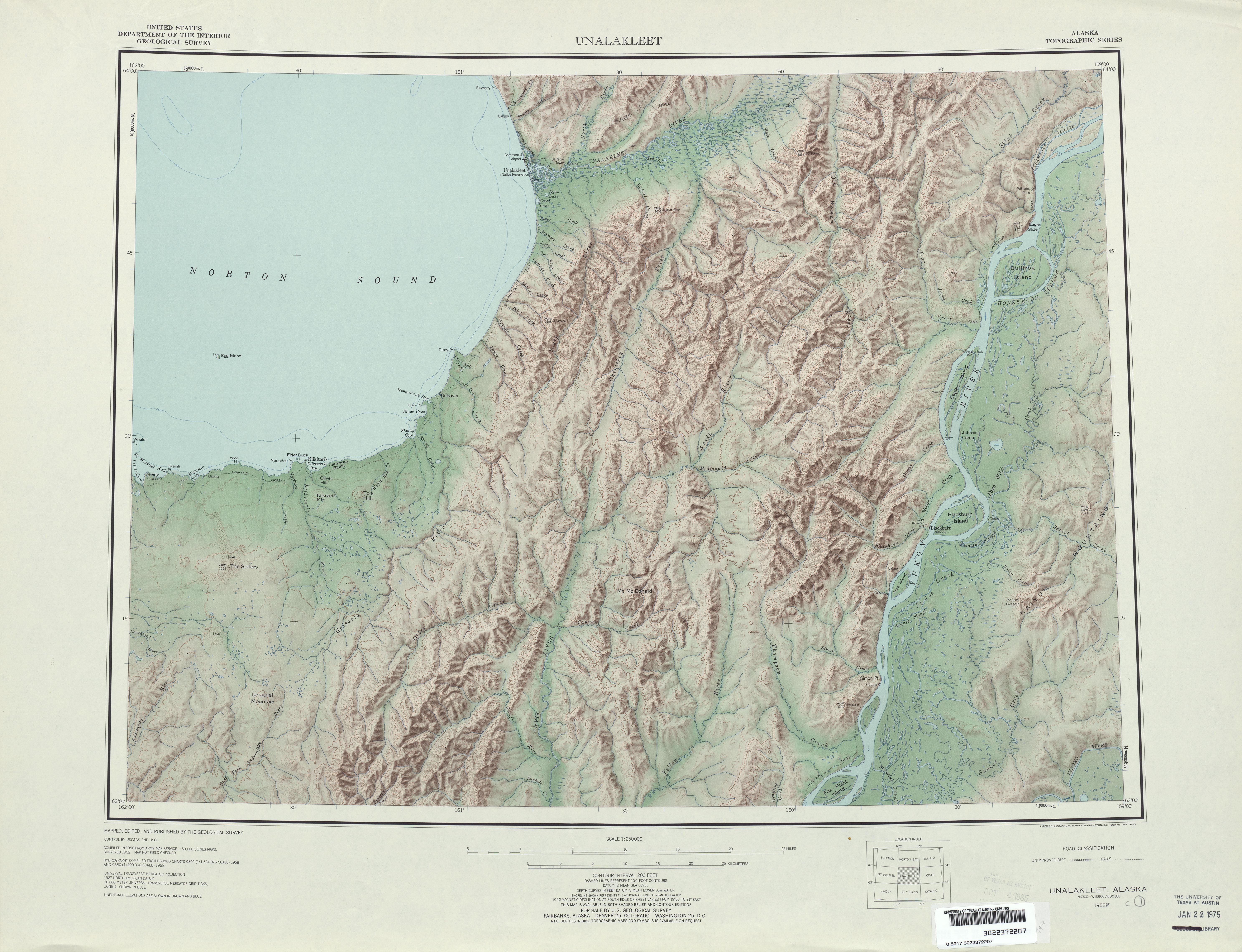 Hoja Unalakleet del Mapa de Relieve Sombreado de los Estados Unidos 1958