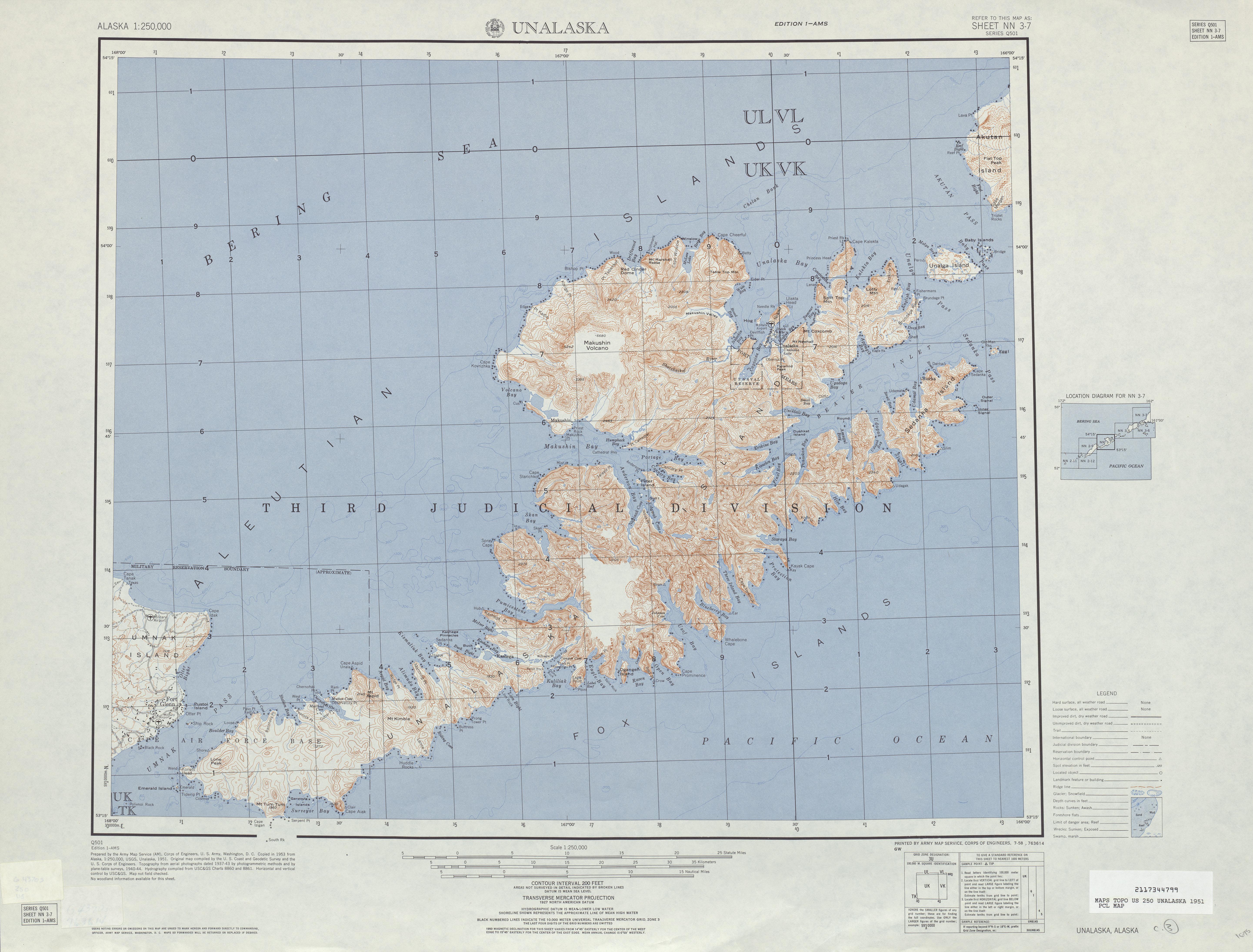 Hoja Unalaska del Mapa Topográfico de los Estados Unidos 1951