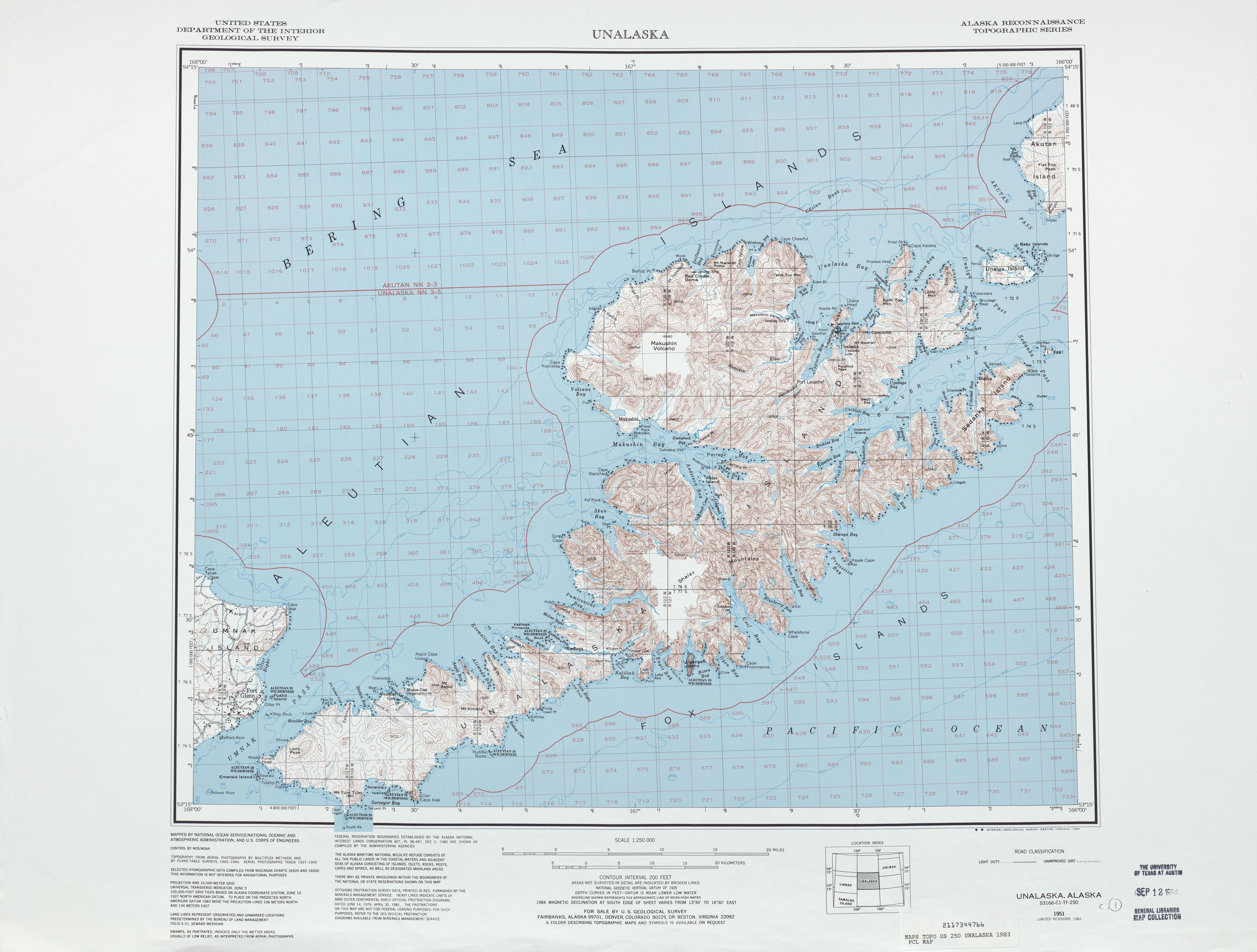 Hoja Unalaska del Mapa Topográfico de los Estados Unidos 1983