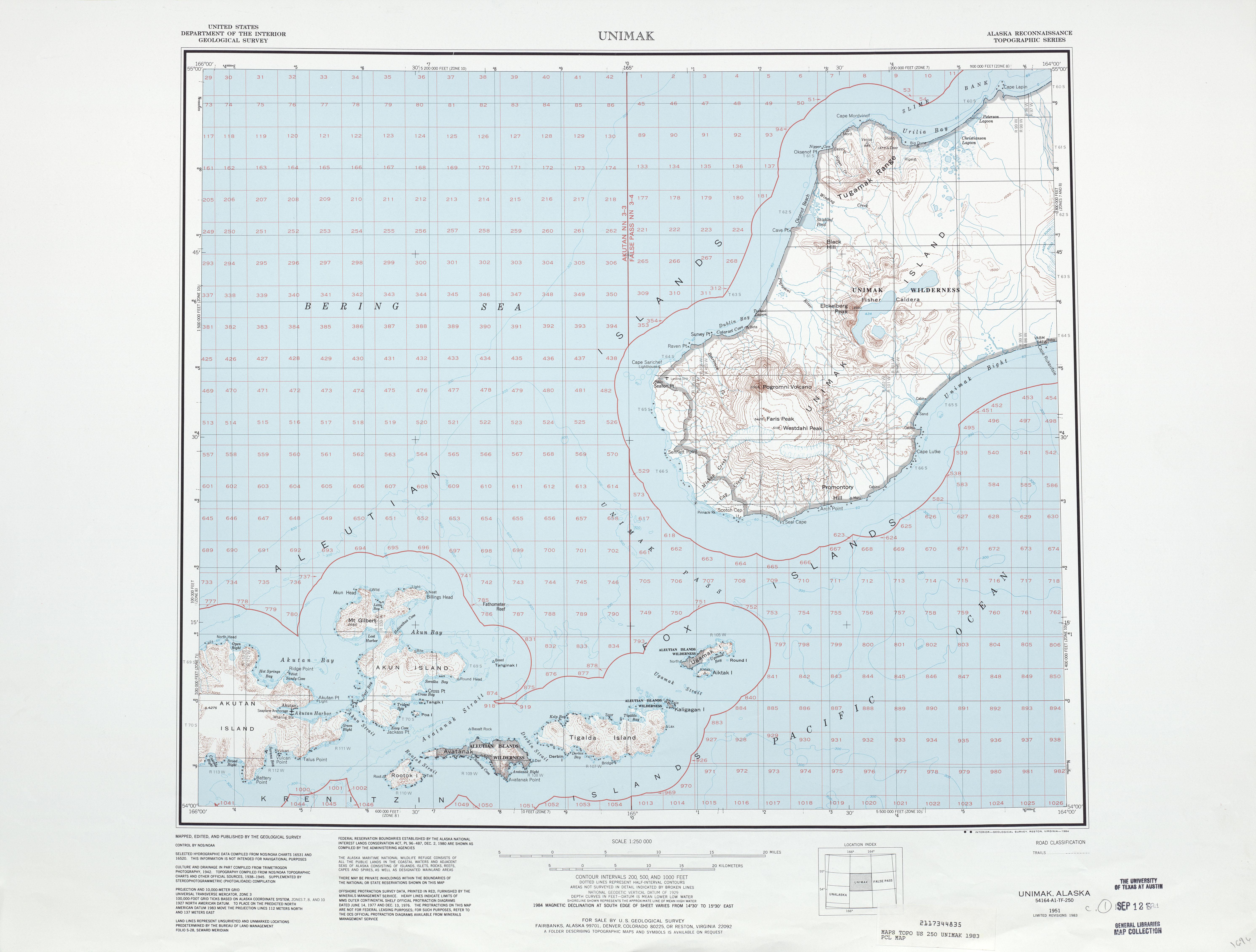 Hoja Unimak del Mapa Topográfico de los Estados Unidos 1983