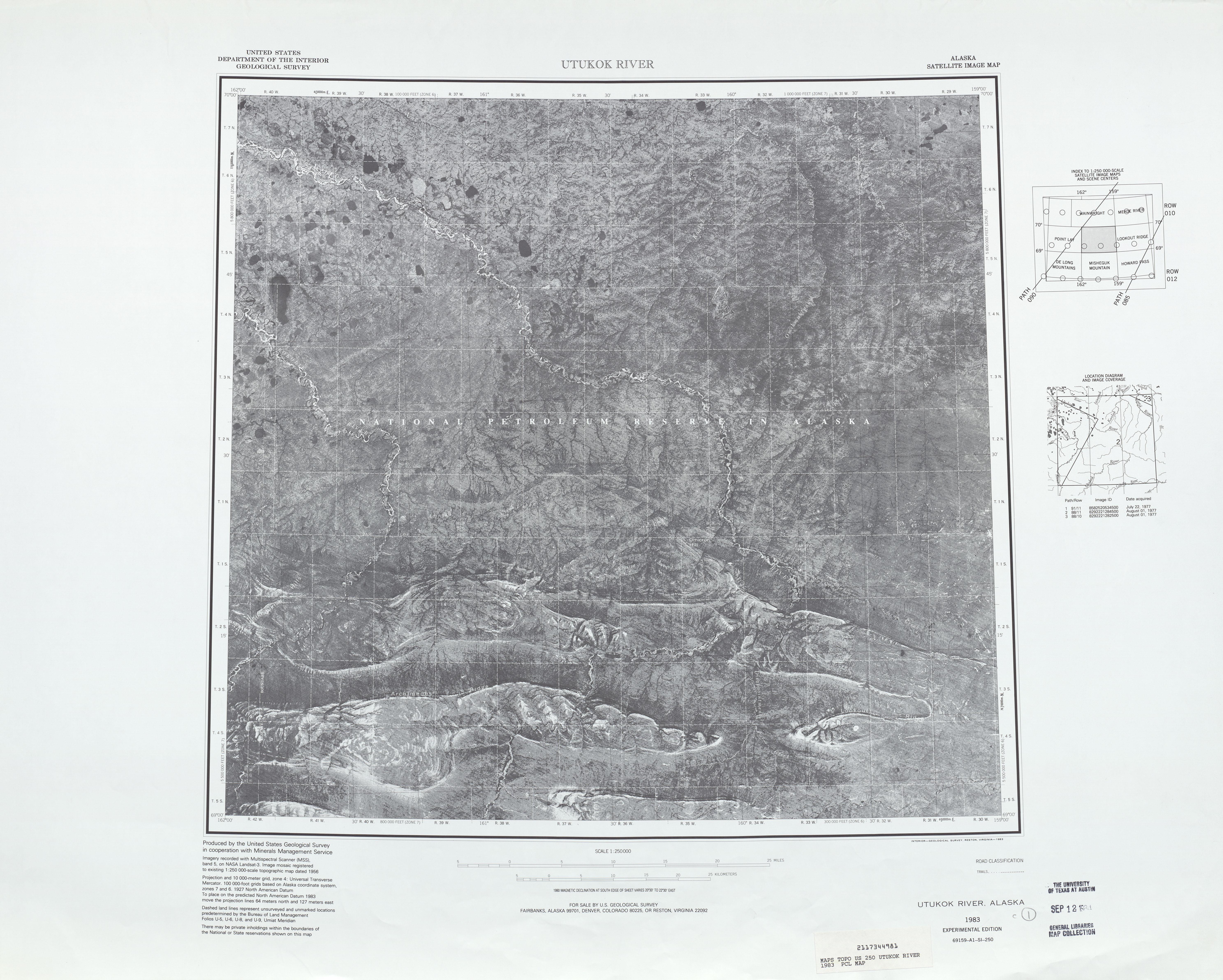 Hoja Utukok River  de la Imagen Satelital de los Estados Unidos 1983