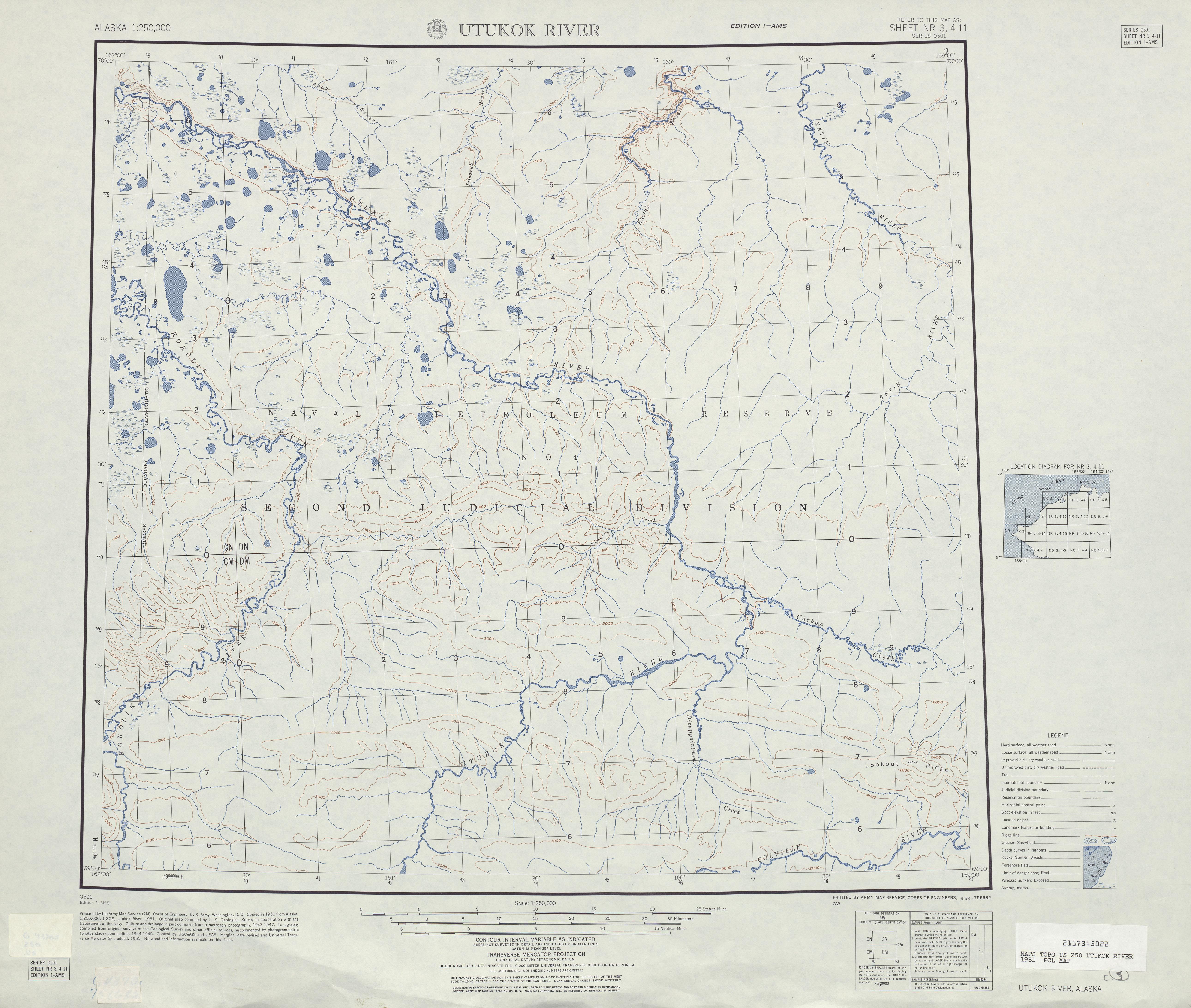 Hoja Utukok River del Mapa Topográfico de los Estados Unidos 1951