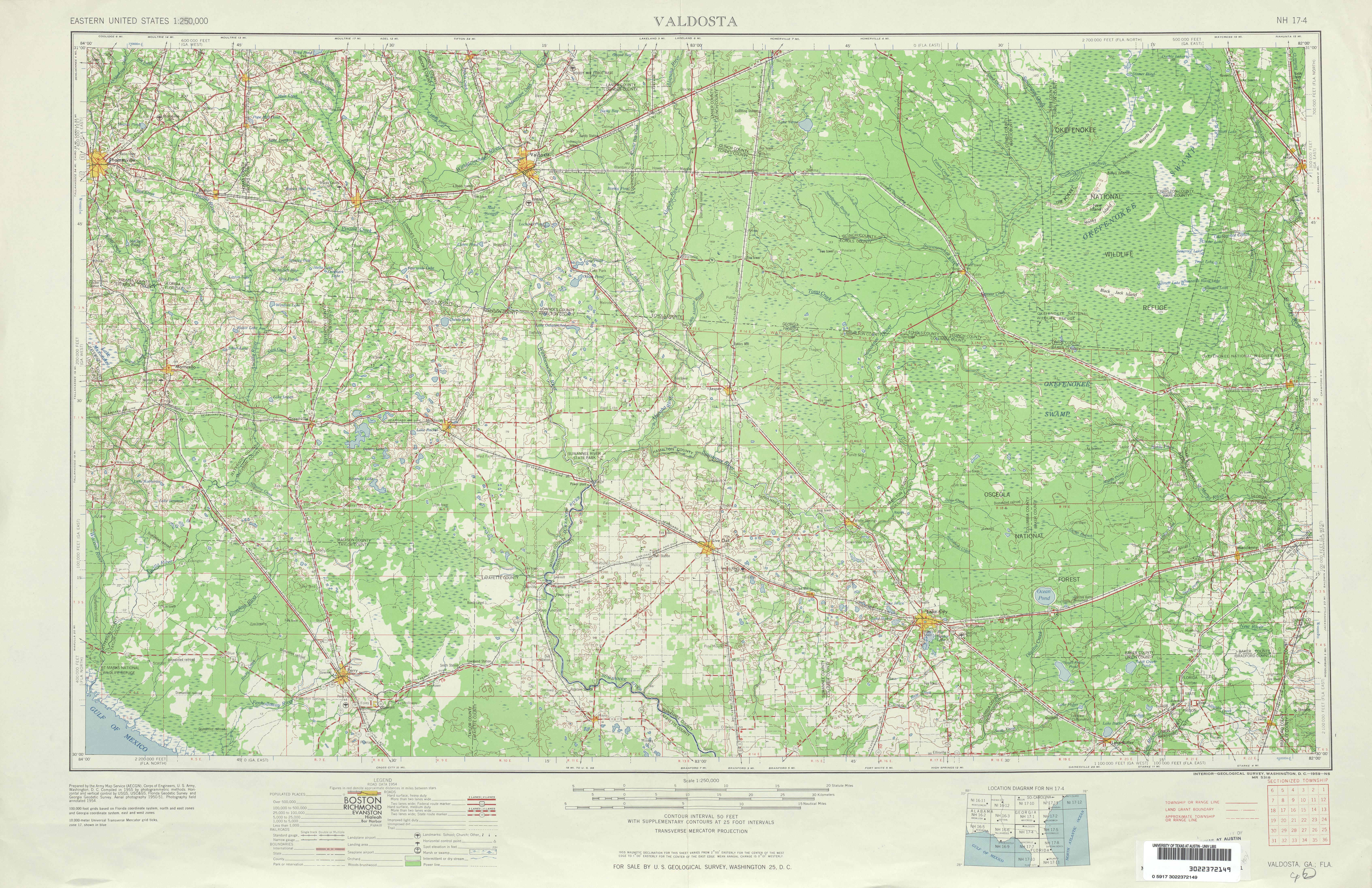 Hoja Valdosta del Mapa Topográfico de los Estados Unidos 1954