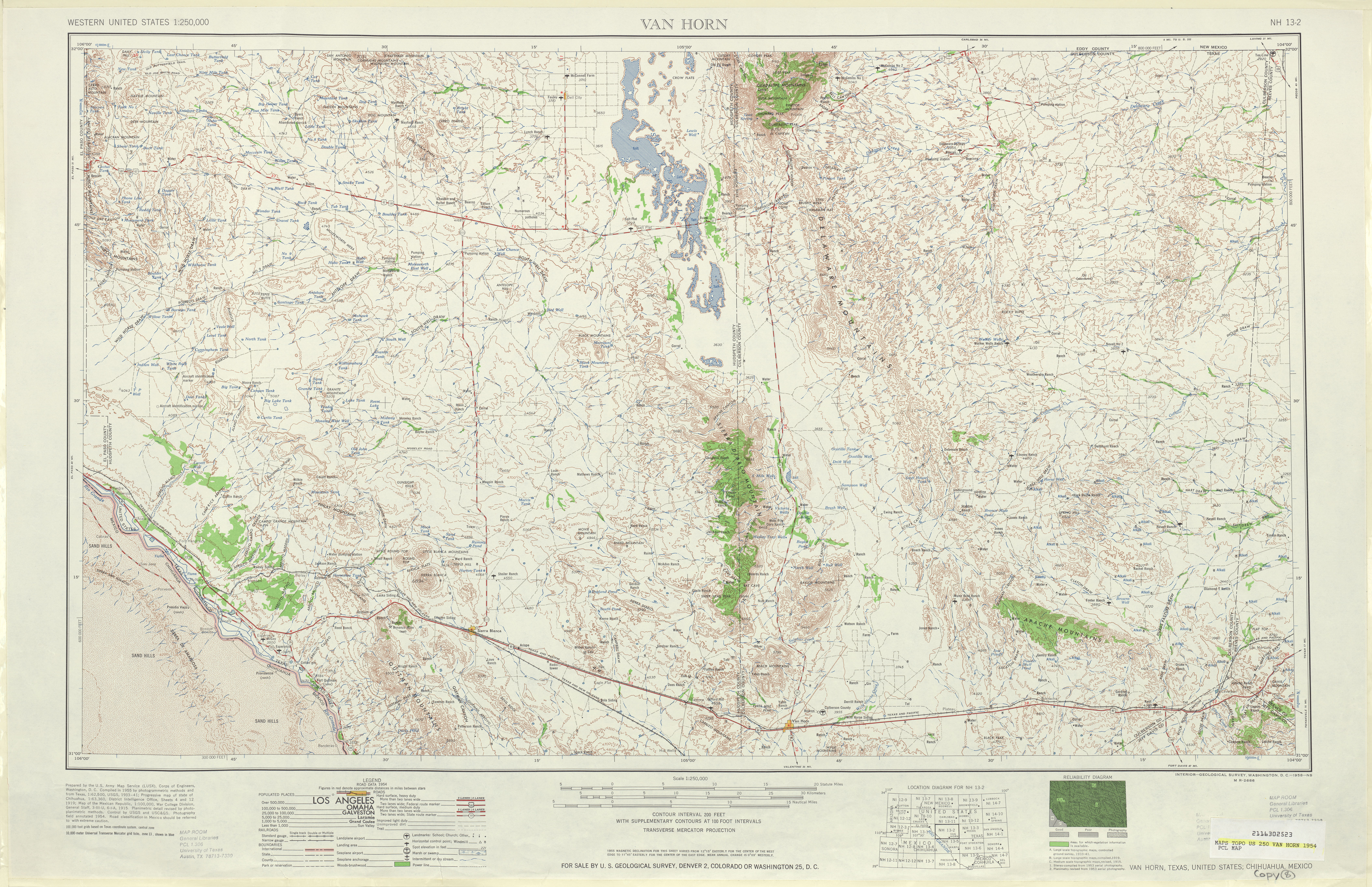 Van Horn Topographic Map Sheet, United States 1954
