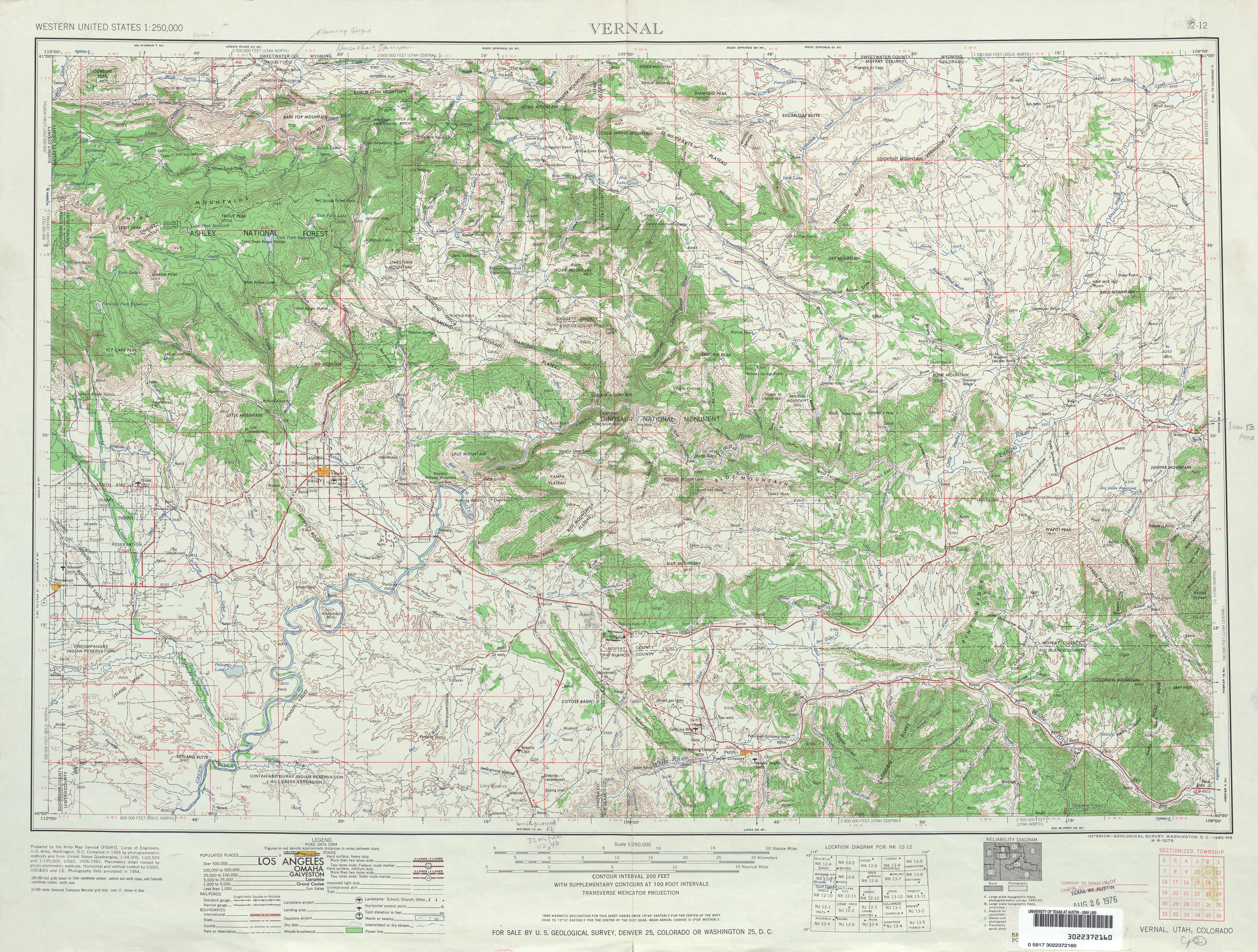 Hoja Vernal del Mapa Topográfico de los Estados Unidos 1954
