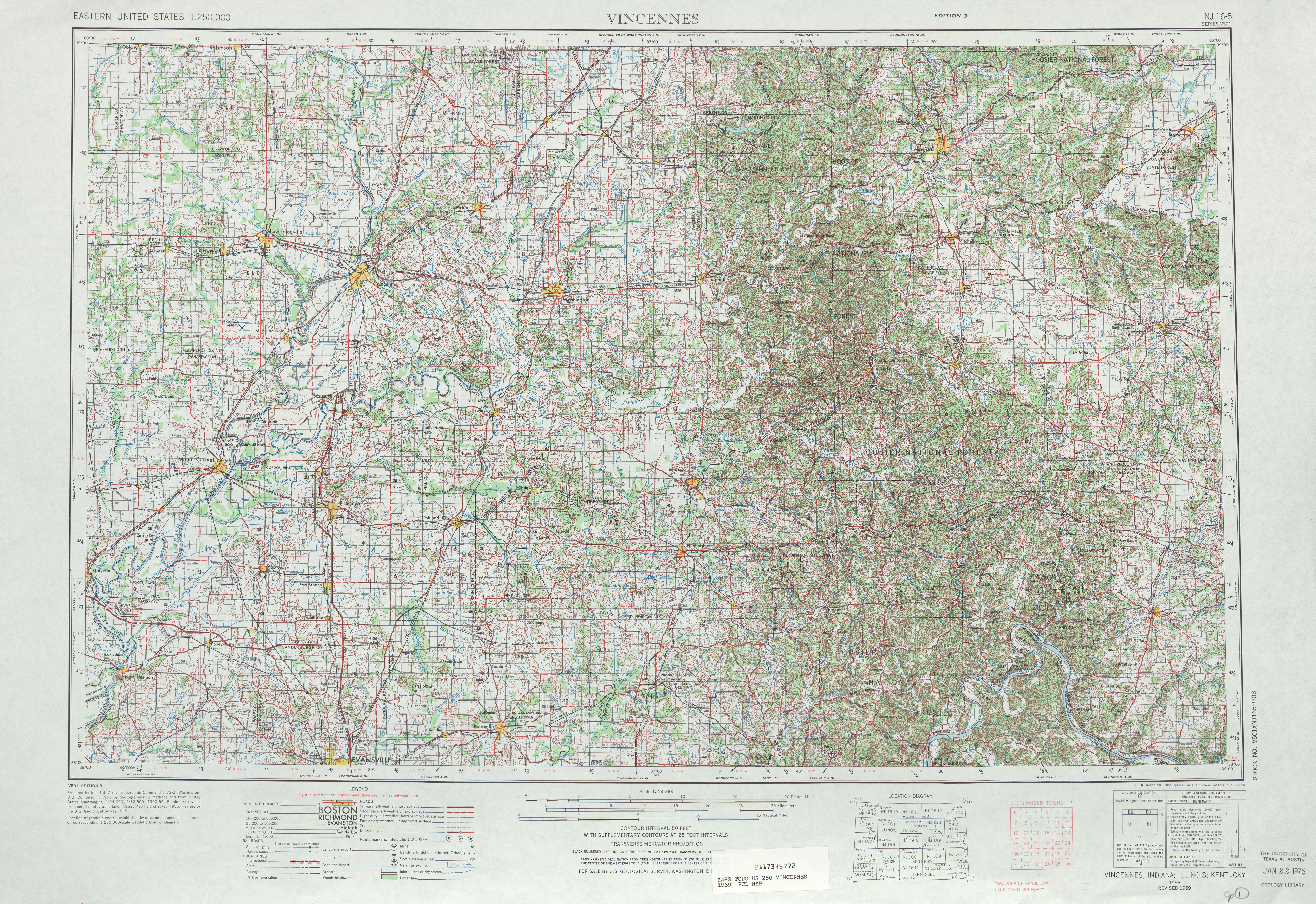 Vincennes Topographic Map Sheet, United States 1969