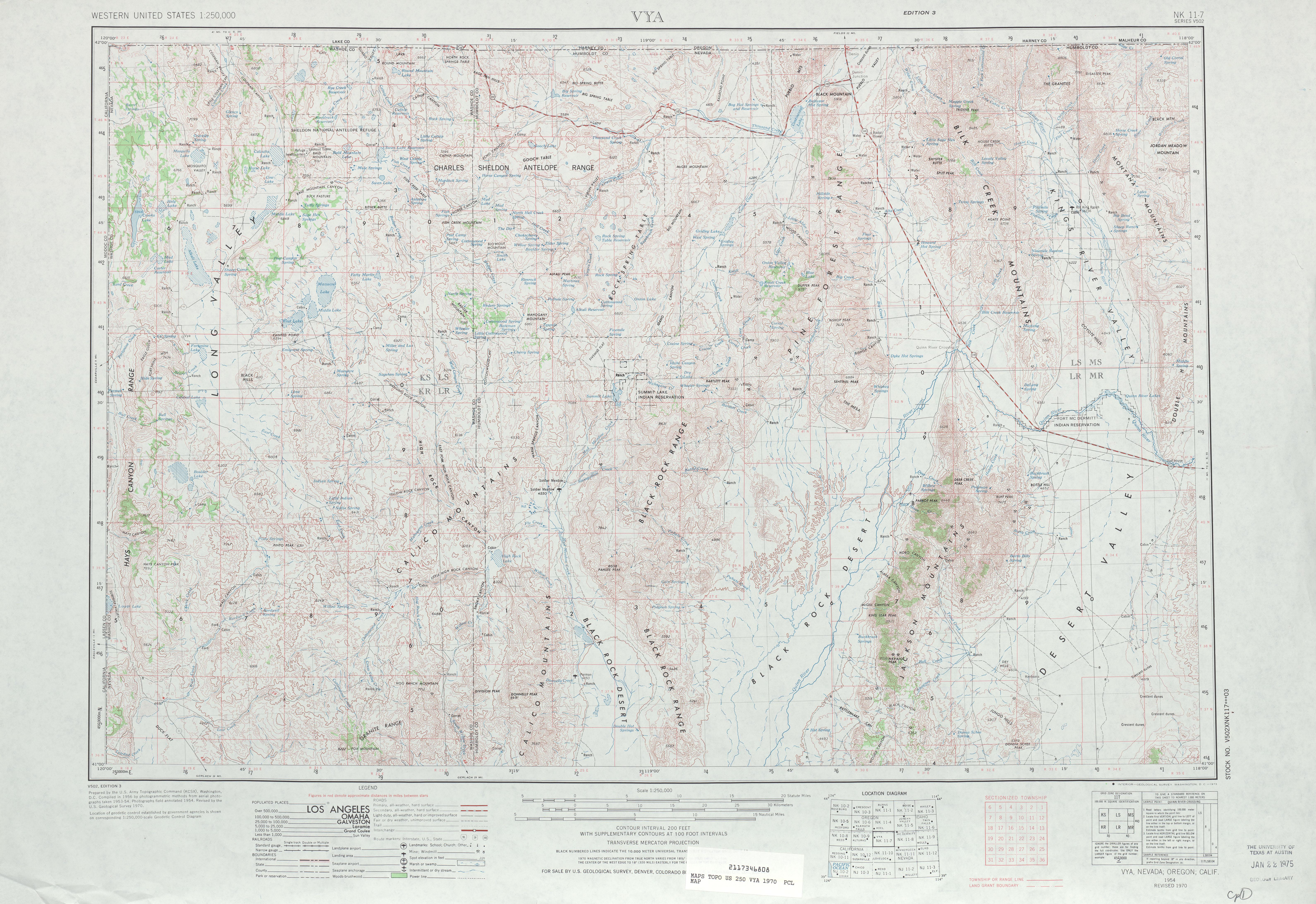 Hoja Vya del Mapa Topográfico de los Estados Unidos 1970