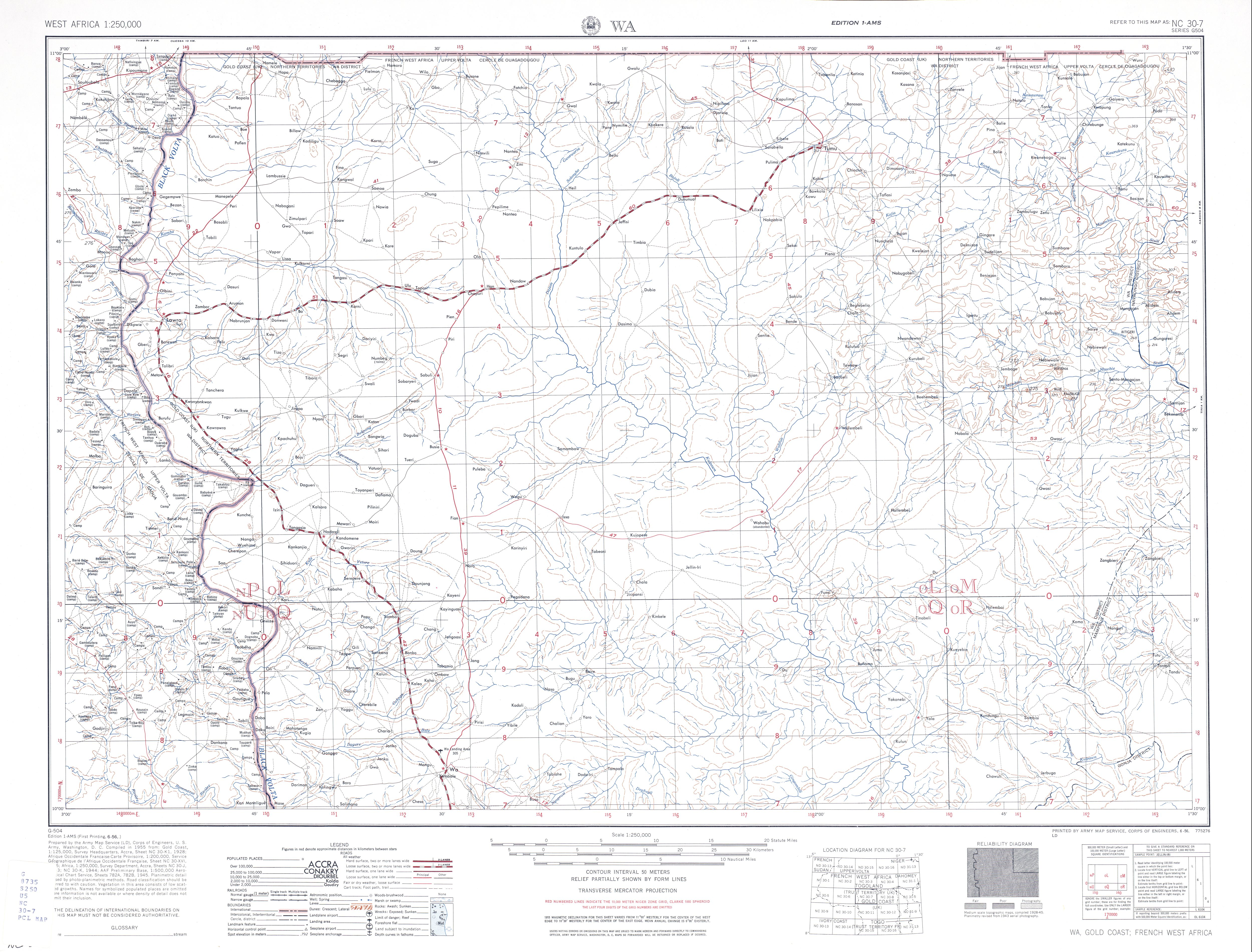 Hoja Wa del Mapa Topográfico de África Occidental 1955