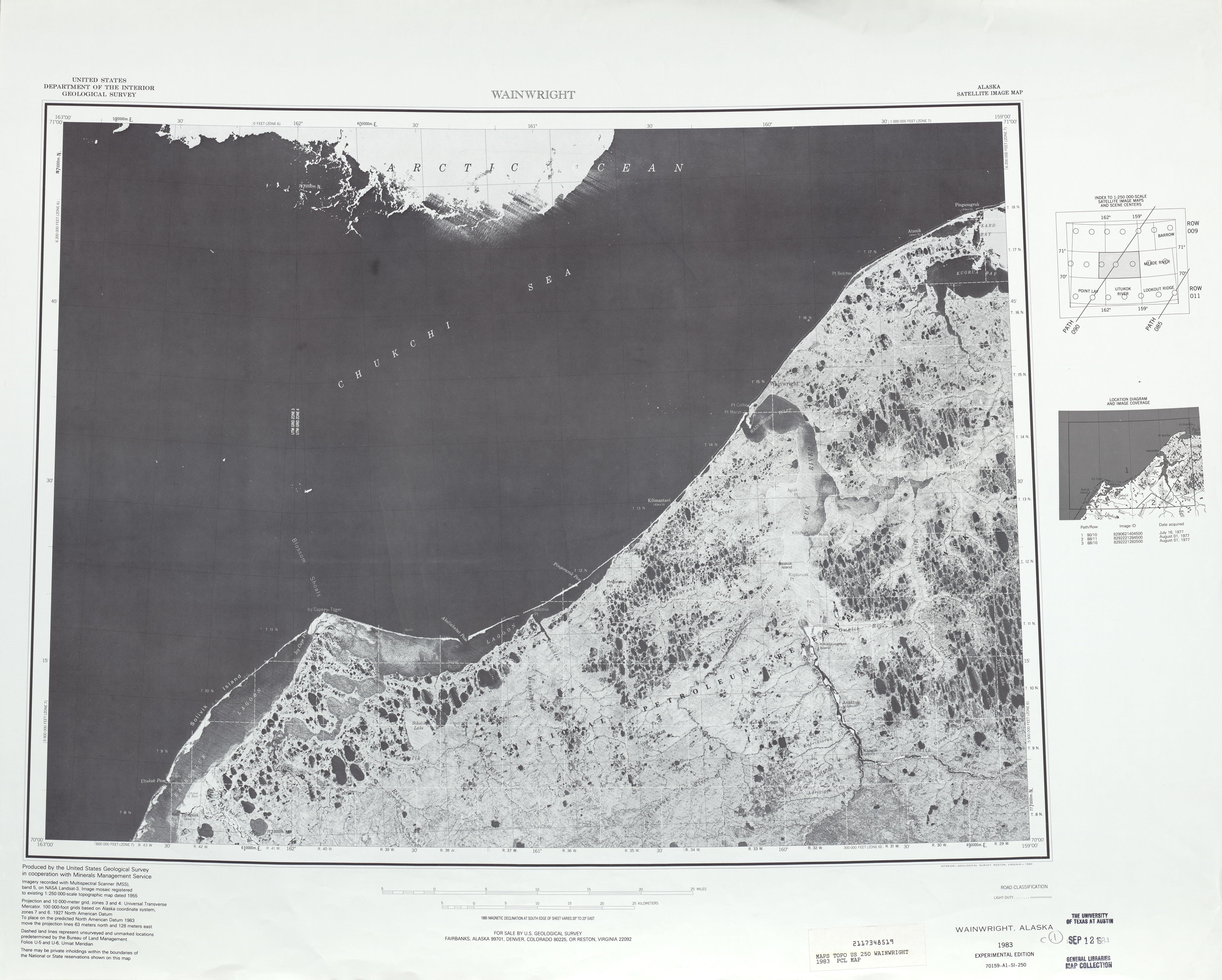 Hoja Wainwright de la Imagen Satelital de los Estados Unidos 1983