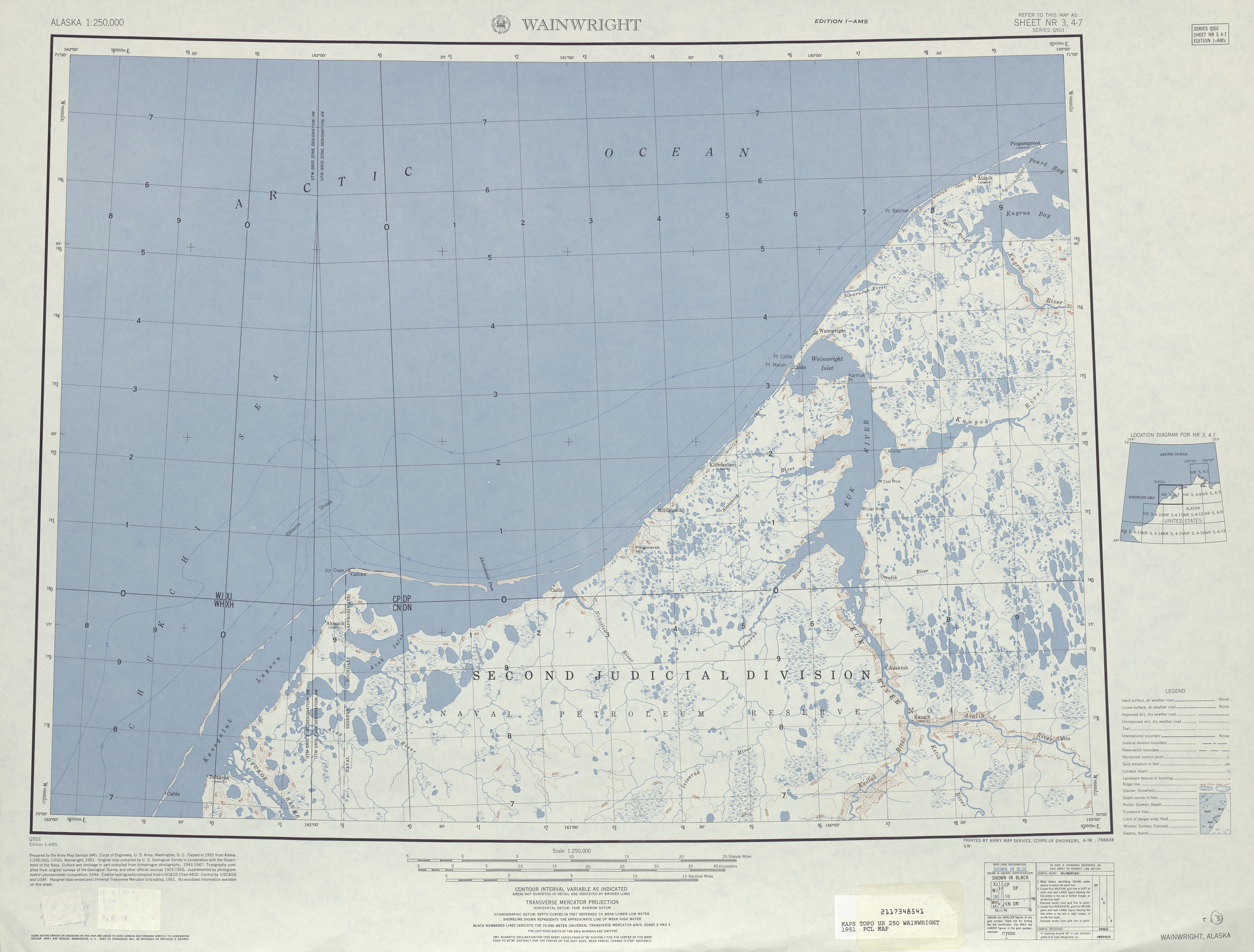Hoja Wainwright del Mapa Topográfico de los Estados Unidos 1951