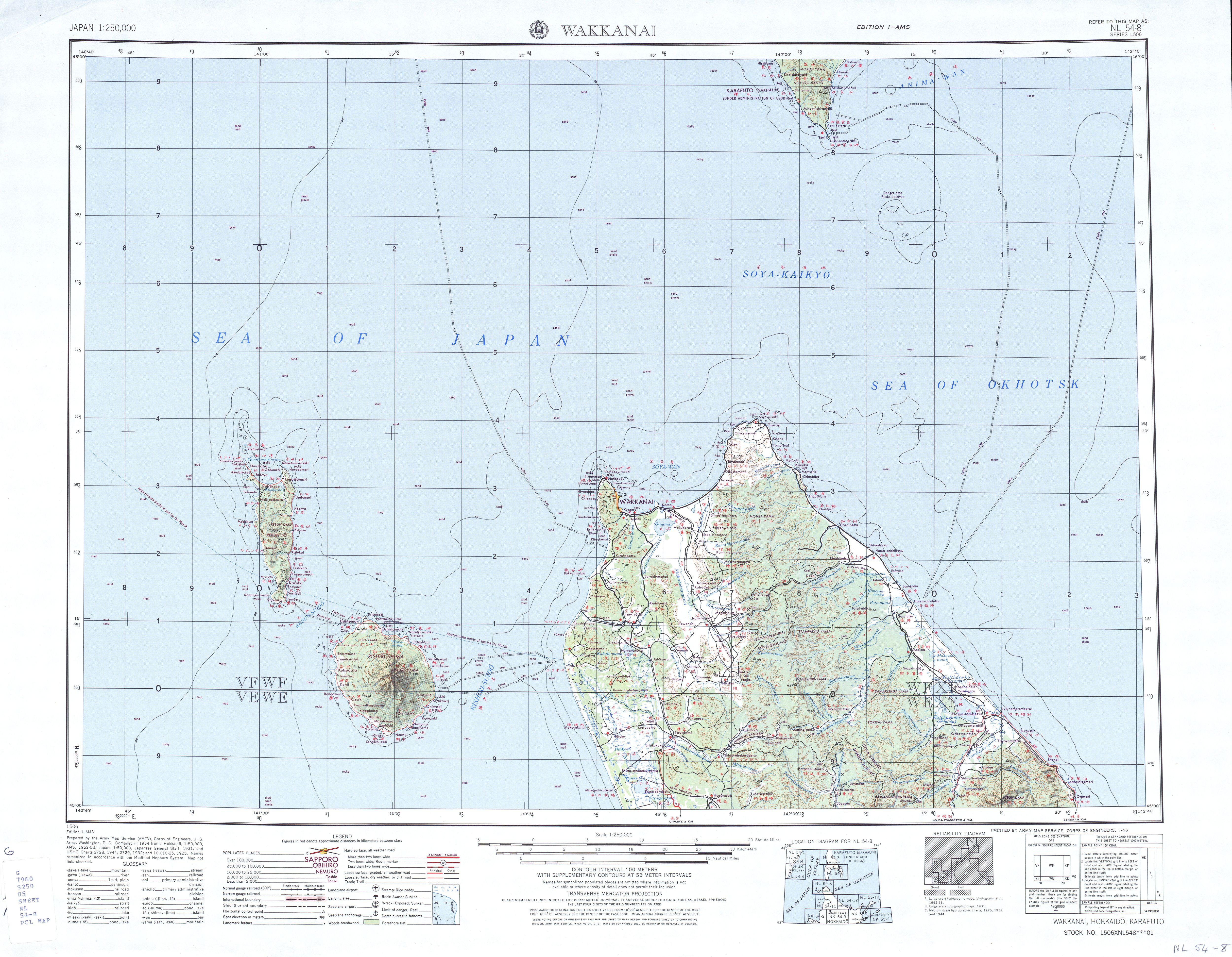 Hoja Wakkanai del Mapa Topográfico de Japón 1954
