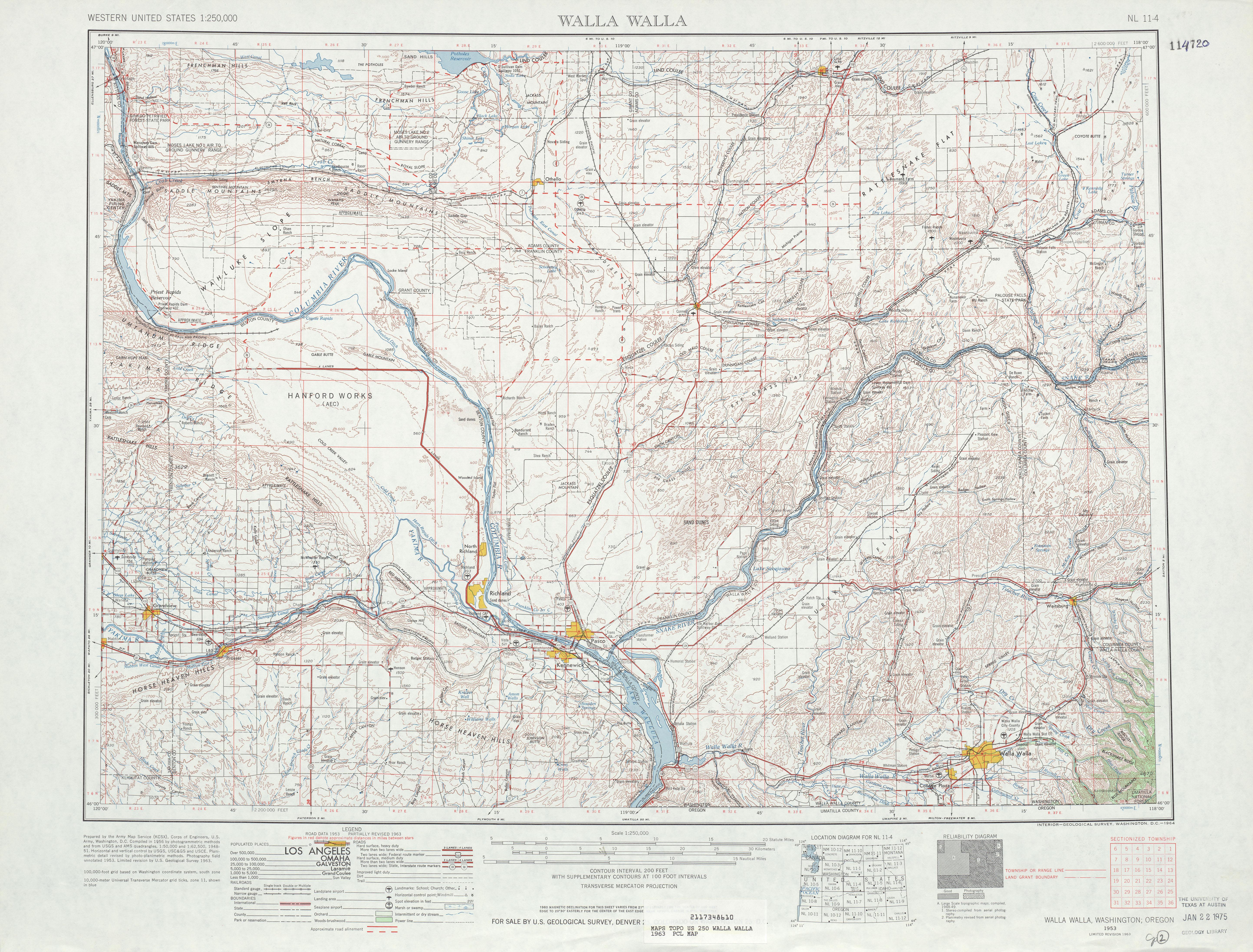 Hoja Walla Walla del Mapa Topográfico de los Estados Unidos 1963