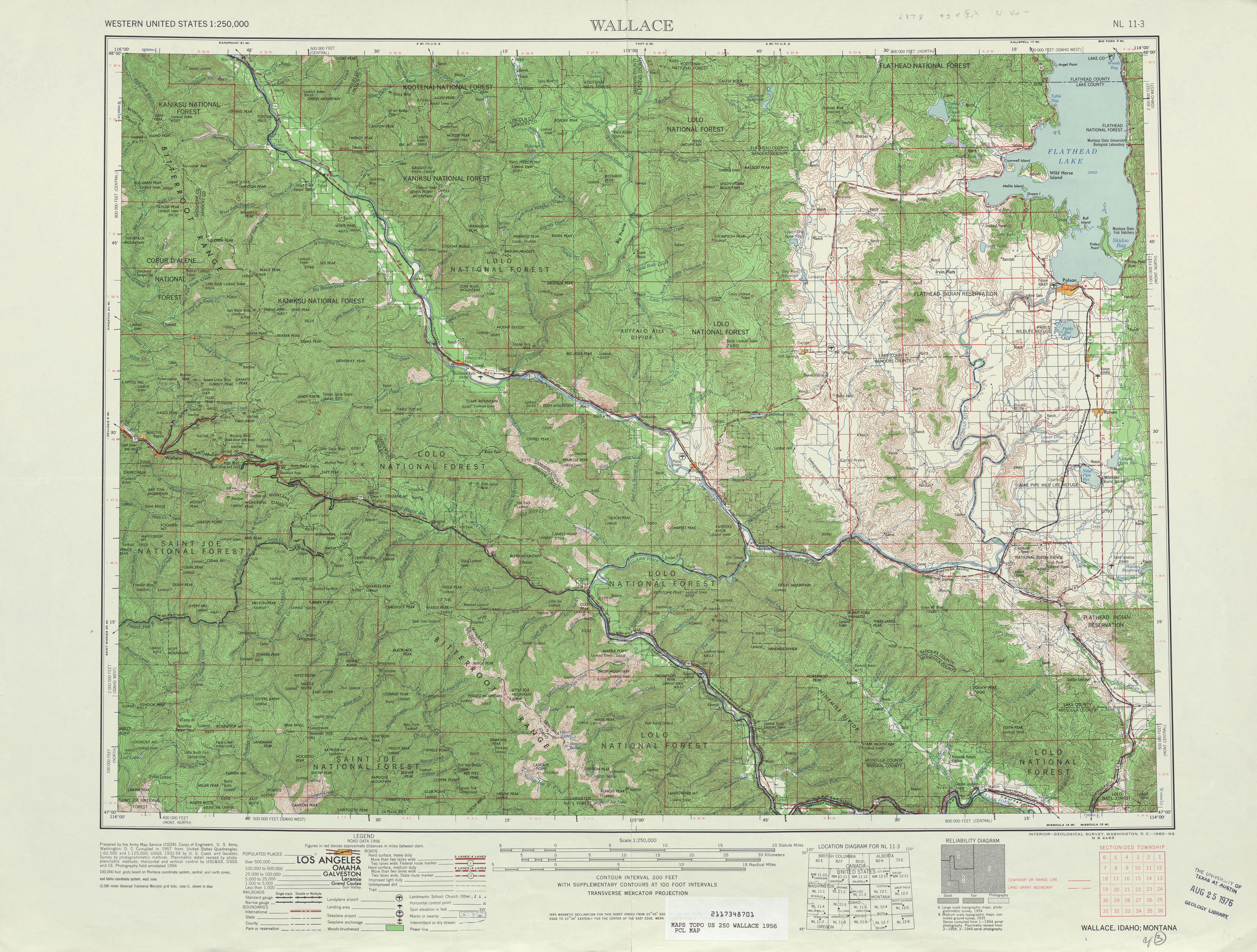 Wallace Topographic Map Sheet, United States 1956