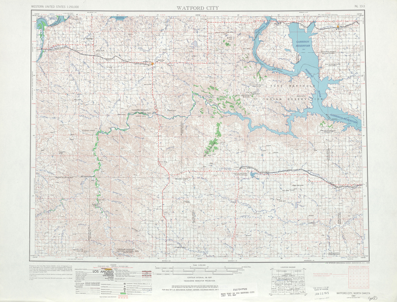 Hoja Watford City del Mapa Topográfico de los Estados Unidos 1967